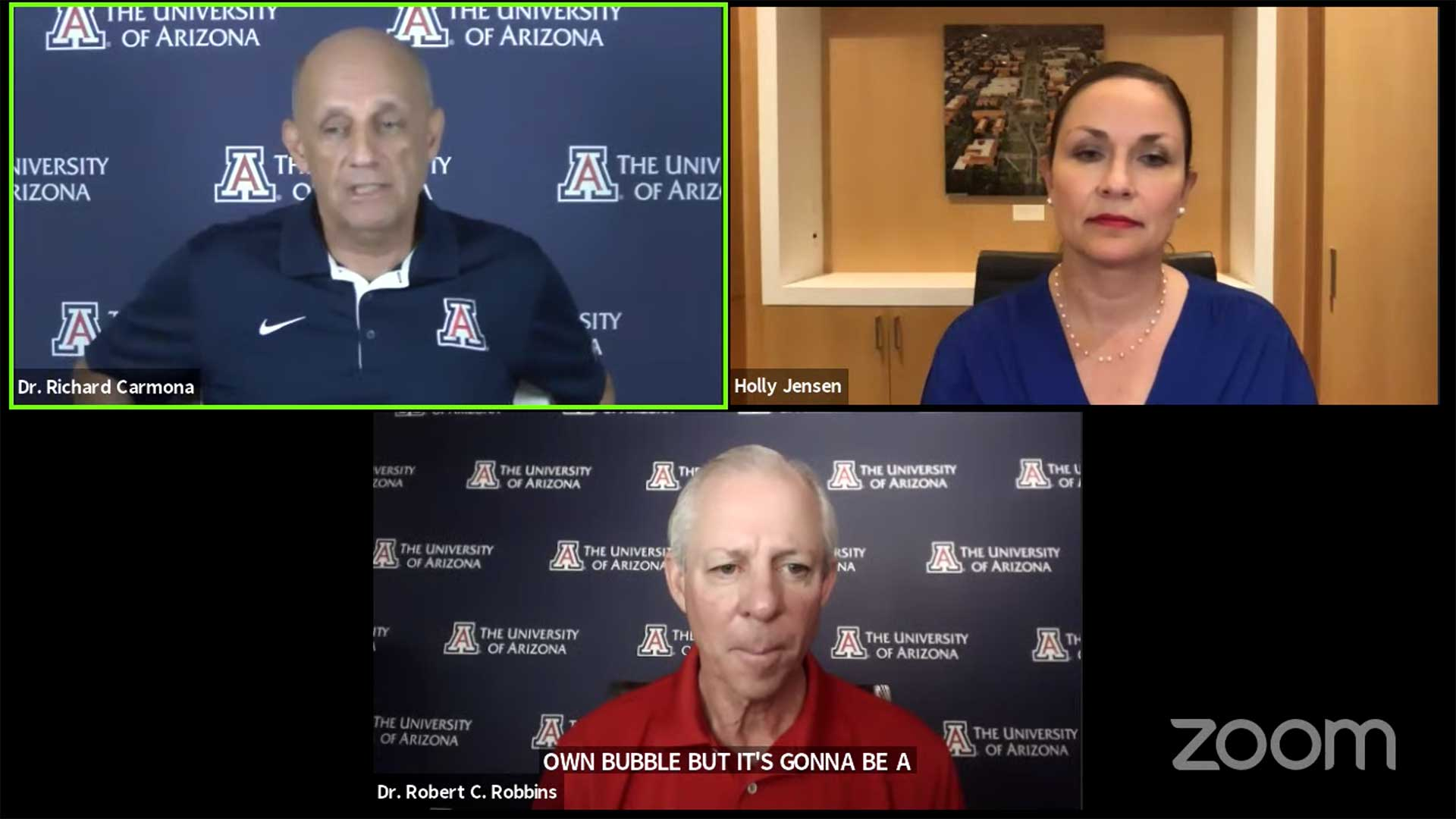 A University of Arizona briefing on plans for the fall semester, July 23.