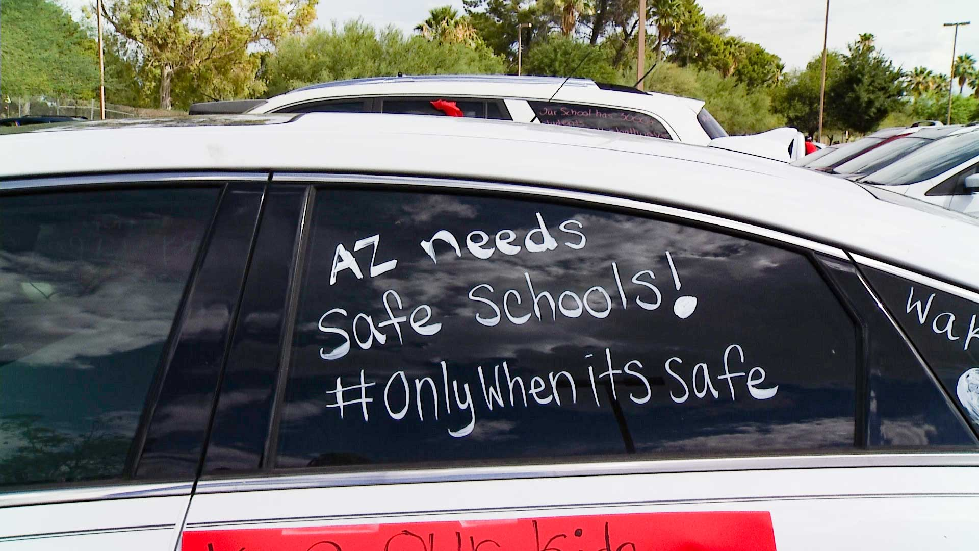 Tucson teachers led a car rally on July 22, 2020 to protest reopening schools without sufficient state guidance and safety benchmarks.