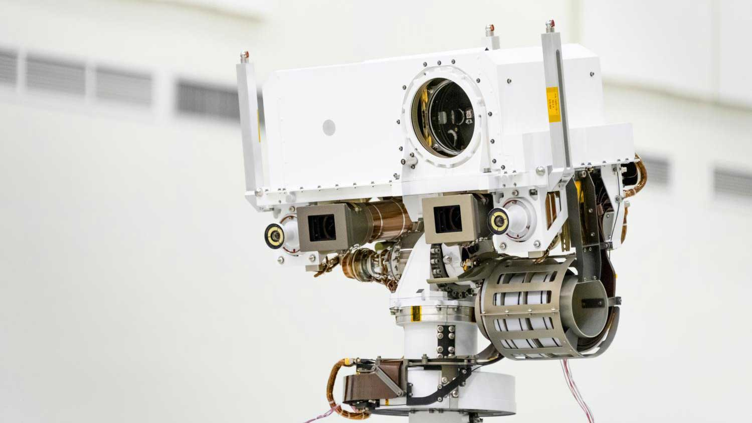This image, taken in the Spacecraft Assembly Facility's High Bay 1 at the Jet Propulsion Laboratory in Pasadena, California, on July 23, 2019, shows a close-up of the head of Mars 2020's remote sensing mast.