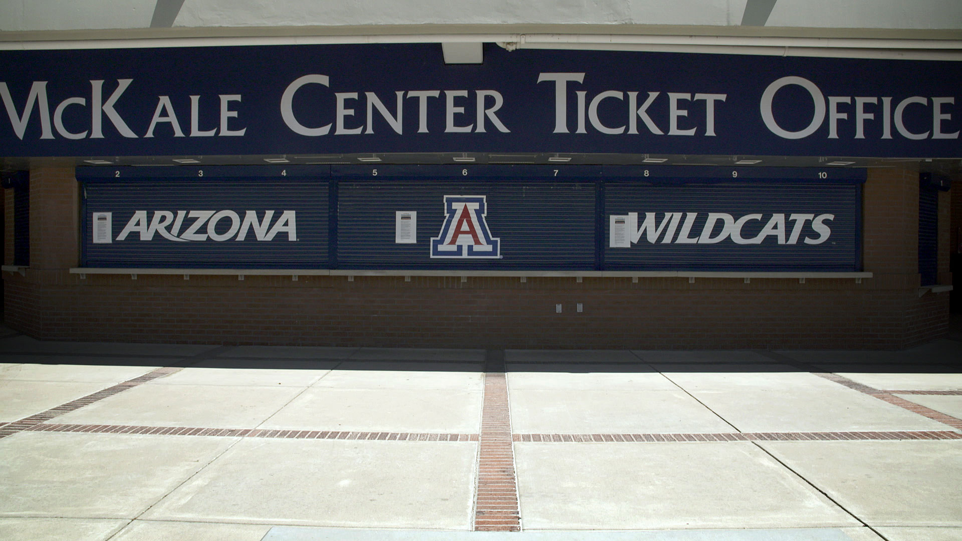 The McKale Center ticket office at the University of Arizona. July 2020.