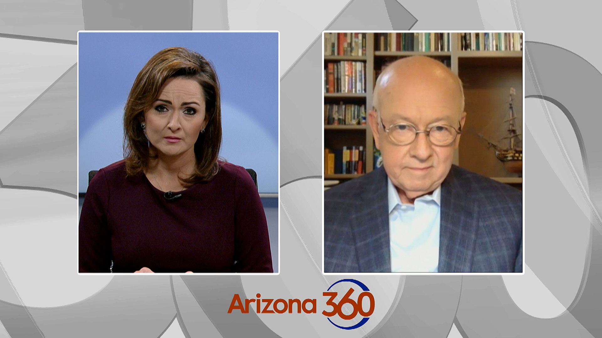 Arizona 360 host Lorraine Rivera interviews Arizona Board of Supervisor Chair Larry Penley over Zoom on July 28, 2020.