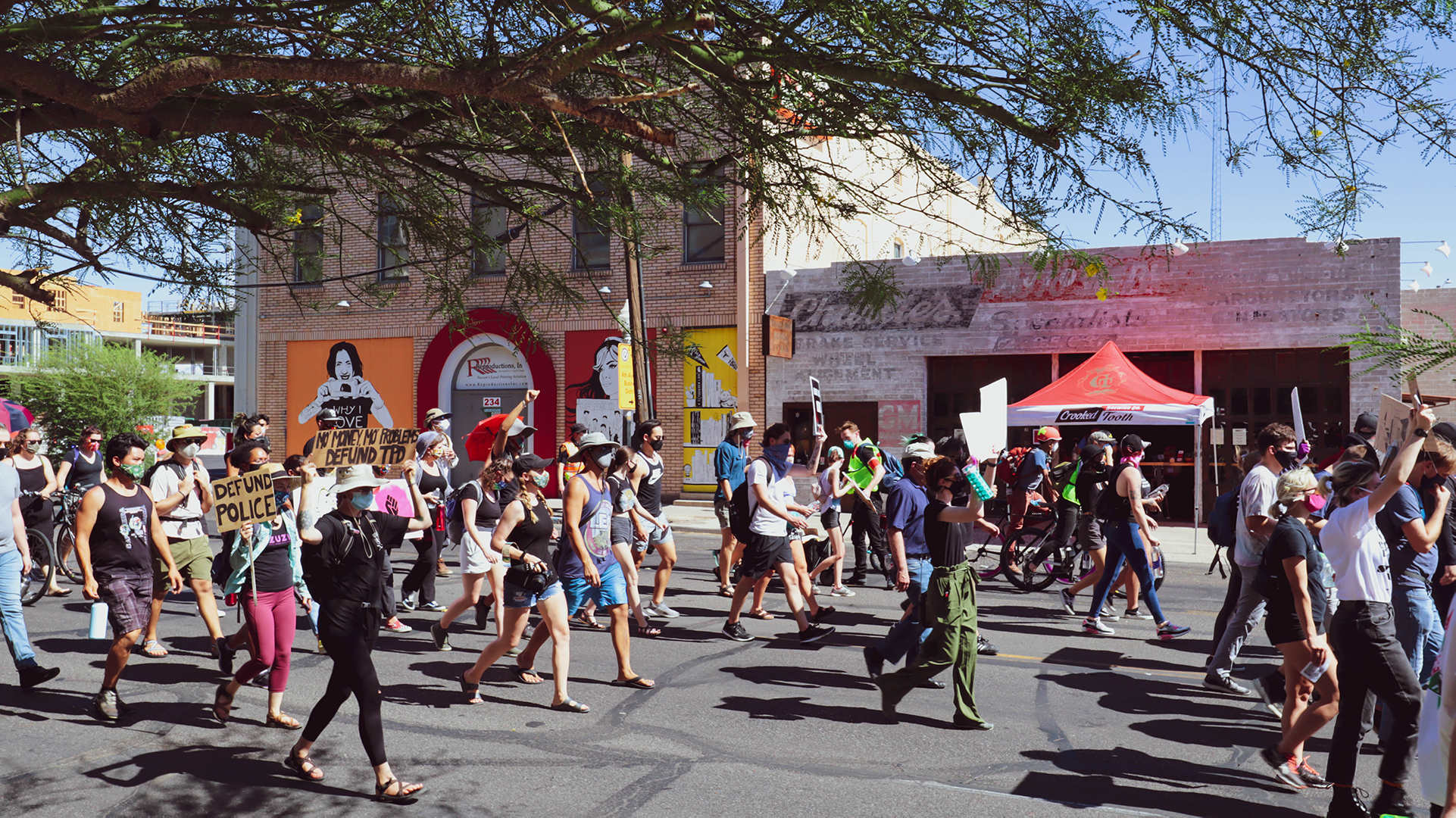 Protesters march through downtown Tucson on July 4th in support of Black Lives Matter movement and against police brutality.