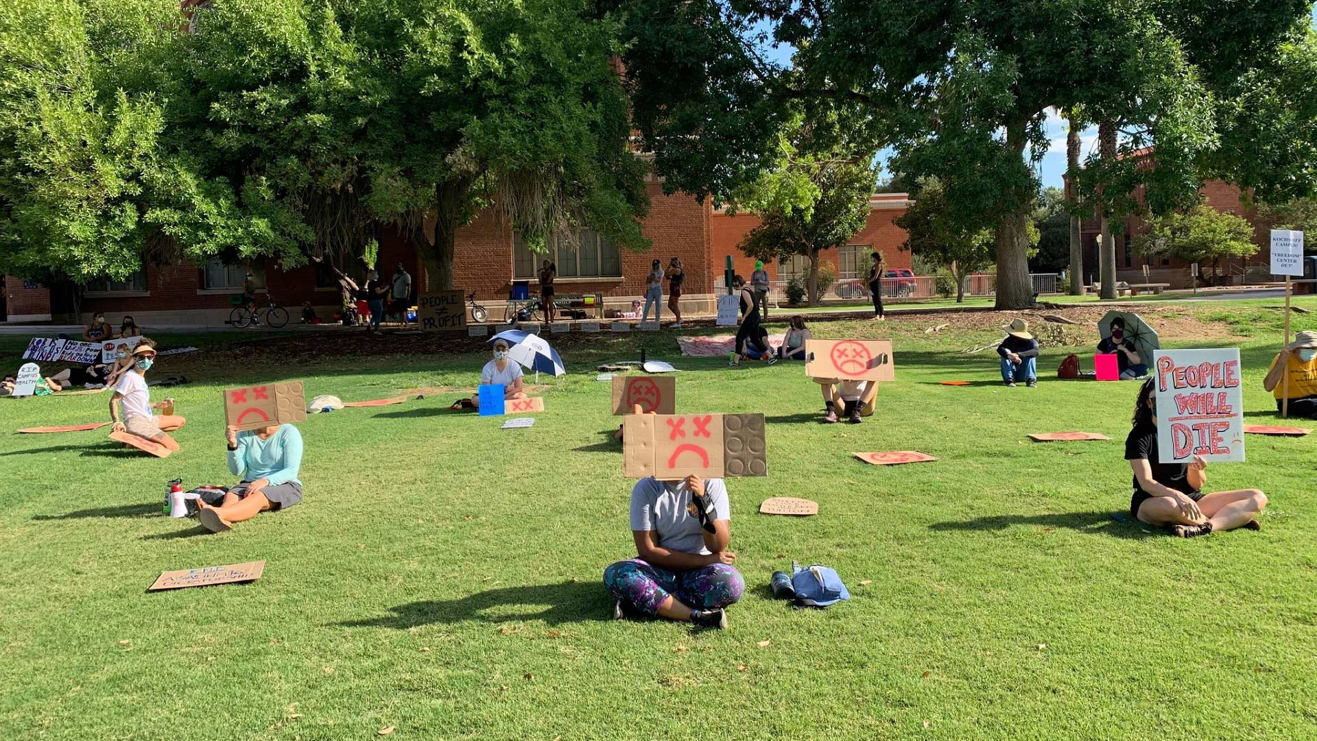 "Students and instructors stage a ""die-in"" against The University of Arizona's COVID-19 re-entry policy, August 14, 2020."