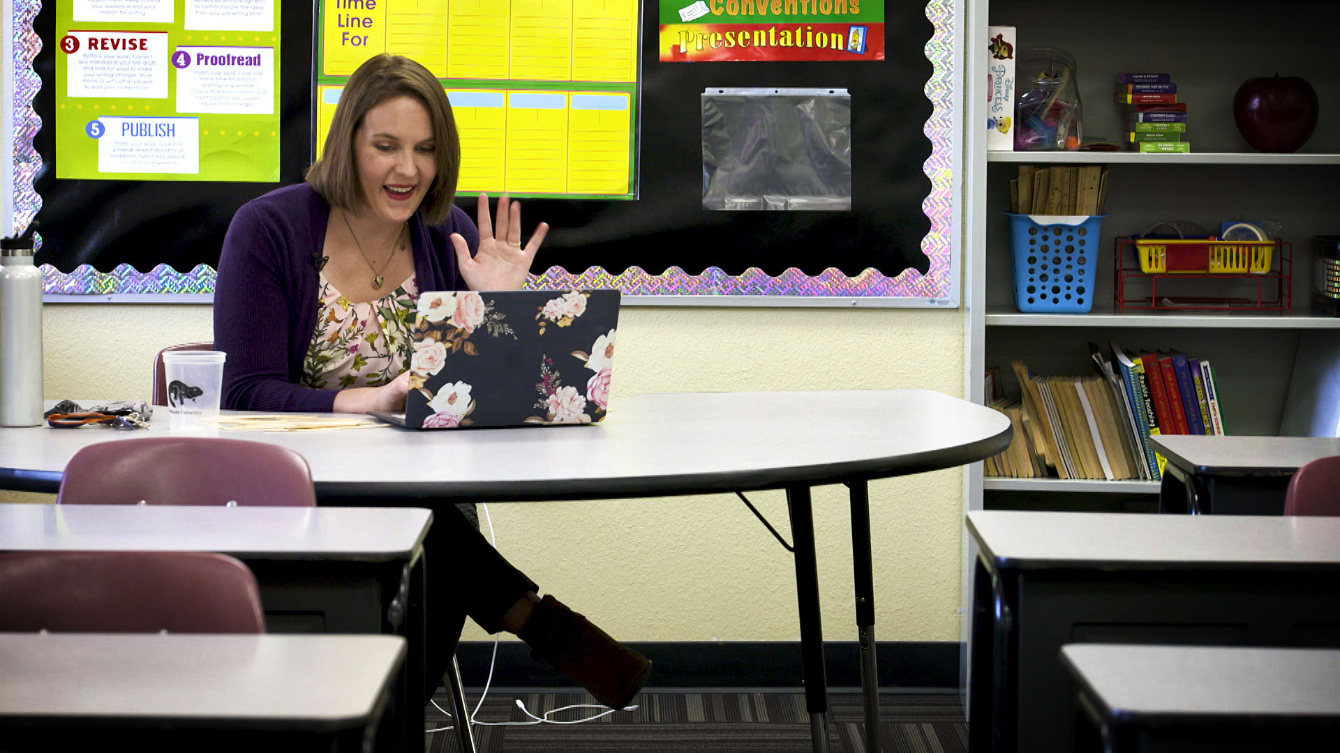 Shannon Jelle waves to her 5th grade students during a video chat on their first day of class at Mesquite Elementary School on August 10, 2020.