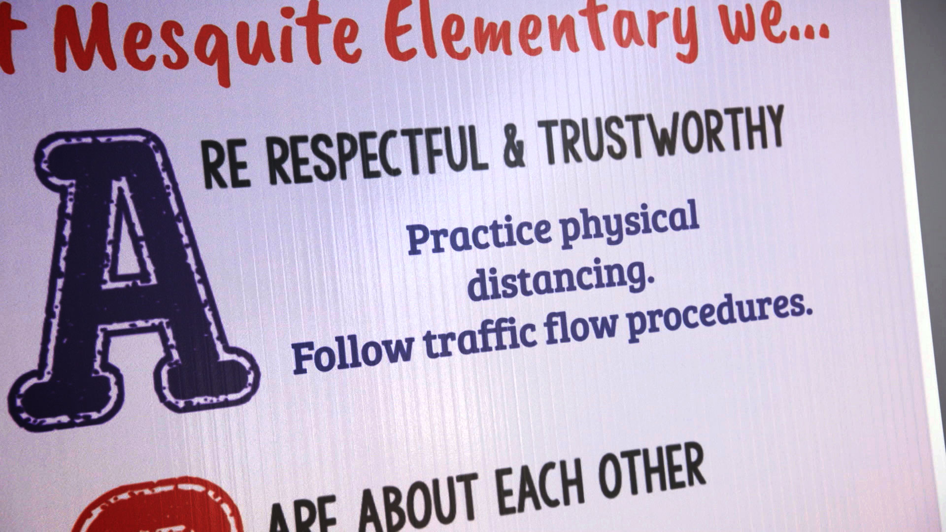 Signage posted at Mesquite Elementary in the Vail School District encourages students to practice social distancing and take other safeguards against COVID-19. August 10, 2020.