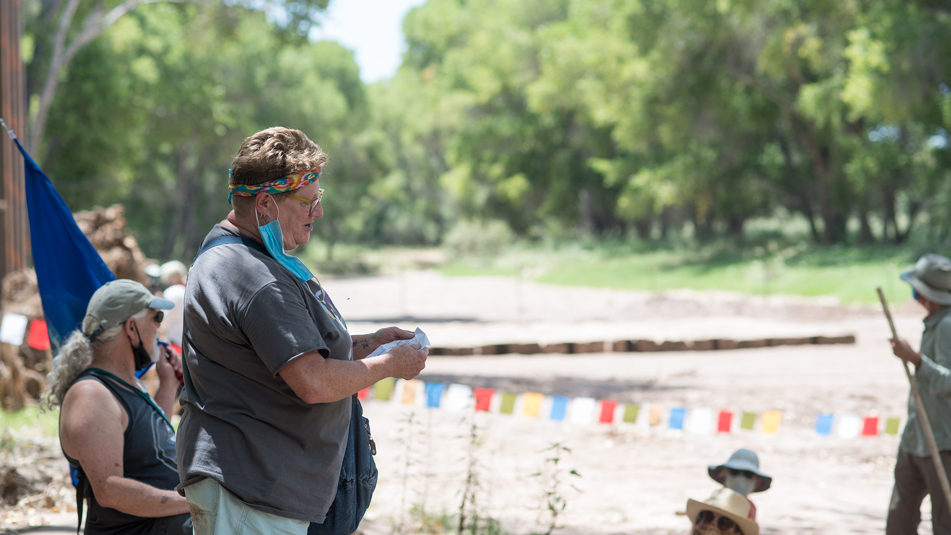 Kim Beach-Moschetti, an area resident and Arizona House of Representatives candidate, speaks at a border wall protest at the San Pedro River on Aug. 14, 2020.