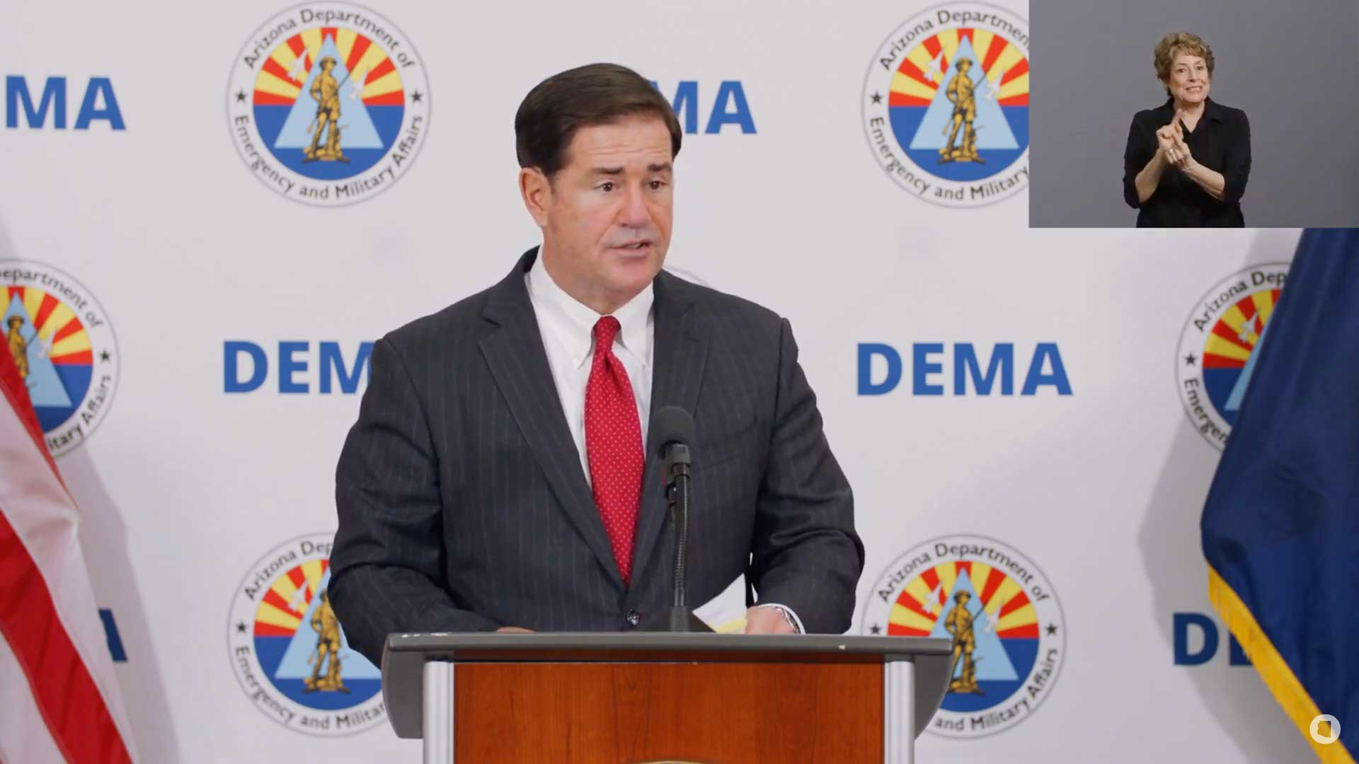 Arizona Gov. Doug Ducey gives an update on the state's COVID-19 response, Aug. 20, 2020.