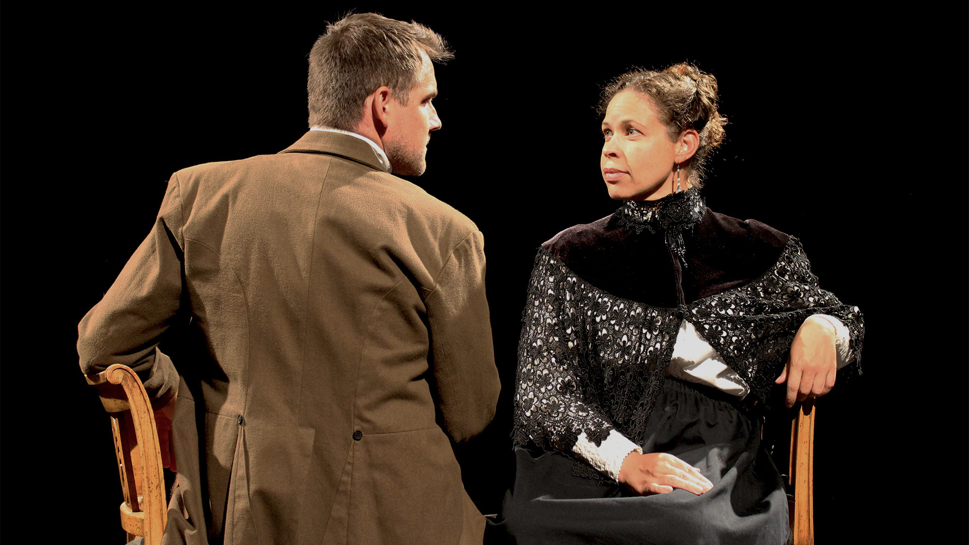 "Christopher Johnson as Armand and Carley Elizabeth Preston as Désirée in ""Désirée's Baby"", based on the short story by Kate Chopin."
