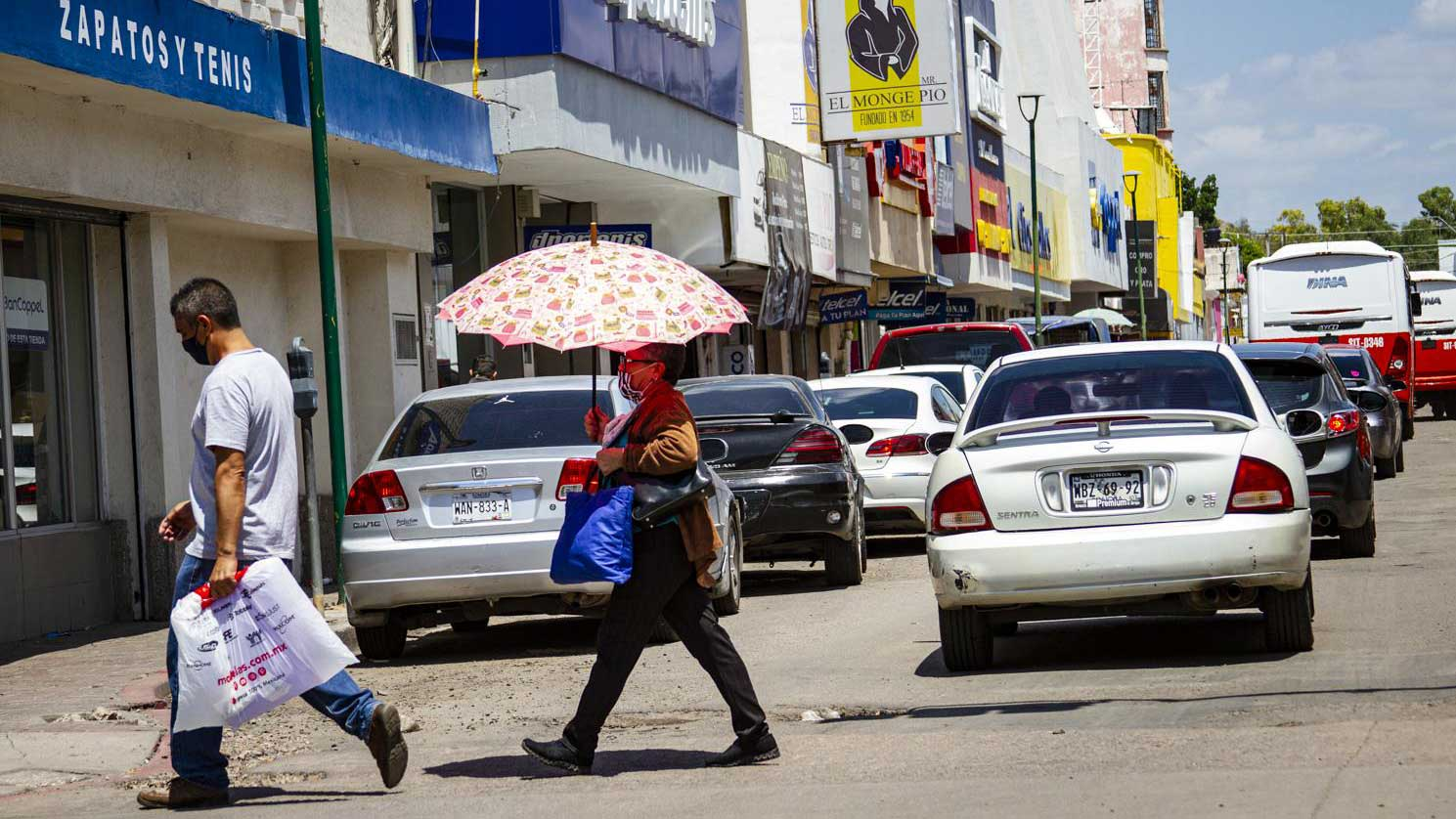 Many shops in Hermosillo's downtown have reopened in recent weeks, and most walking around sported face masks.