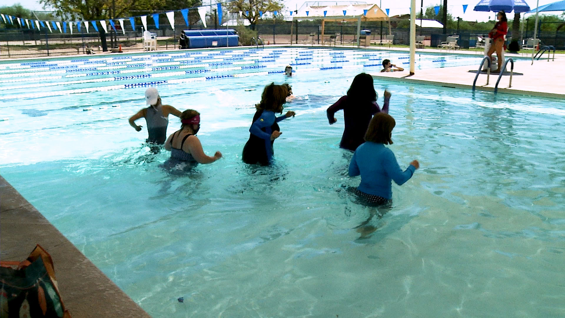 Adults in the Tucson Jewish Community Center's day program for people with disabilities swimming at the J Sept. 3, 2020.