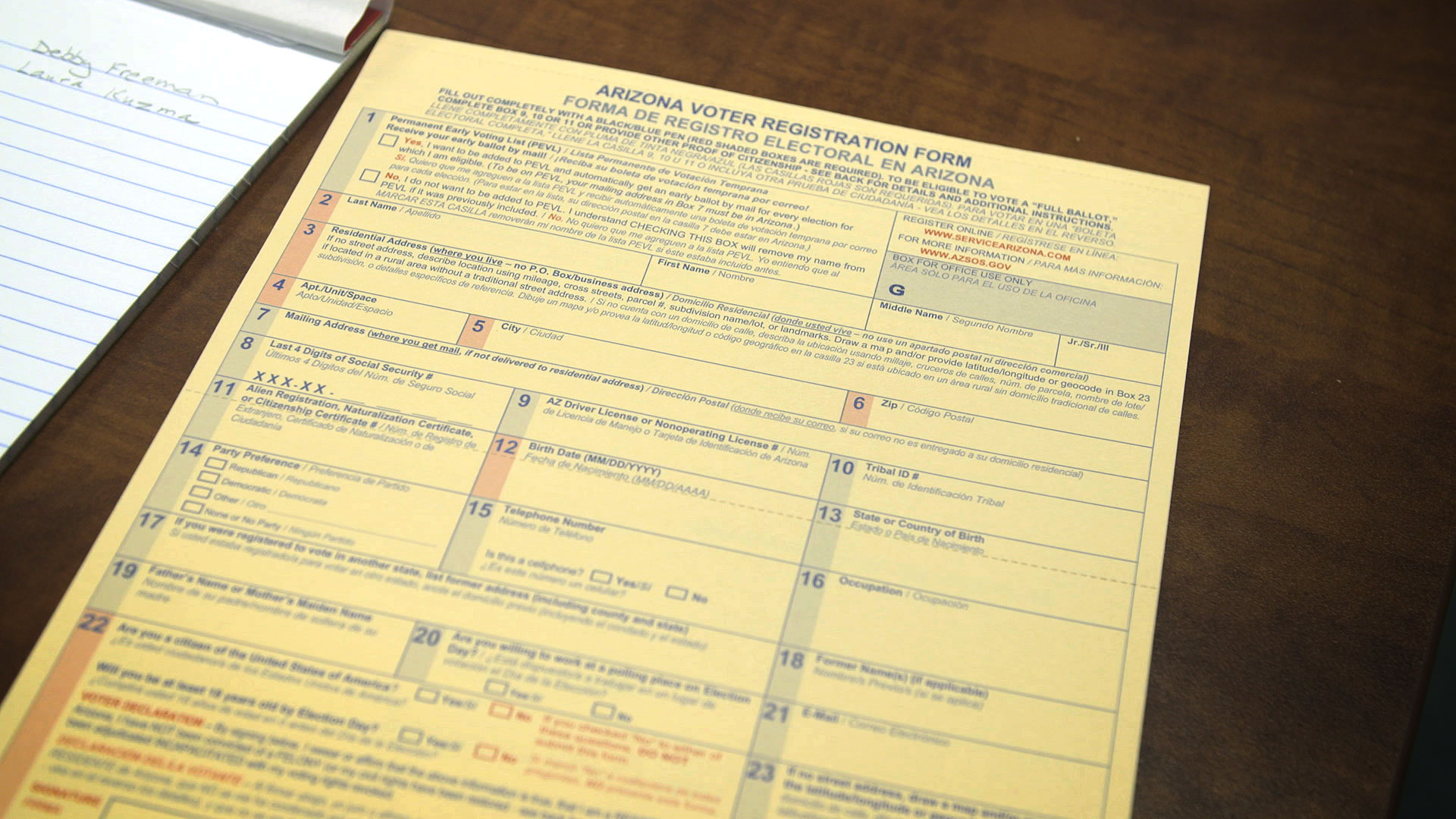 File image of a voter registration form for Arizona.