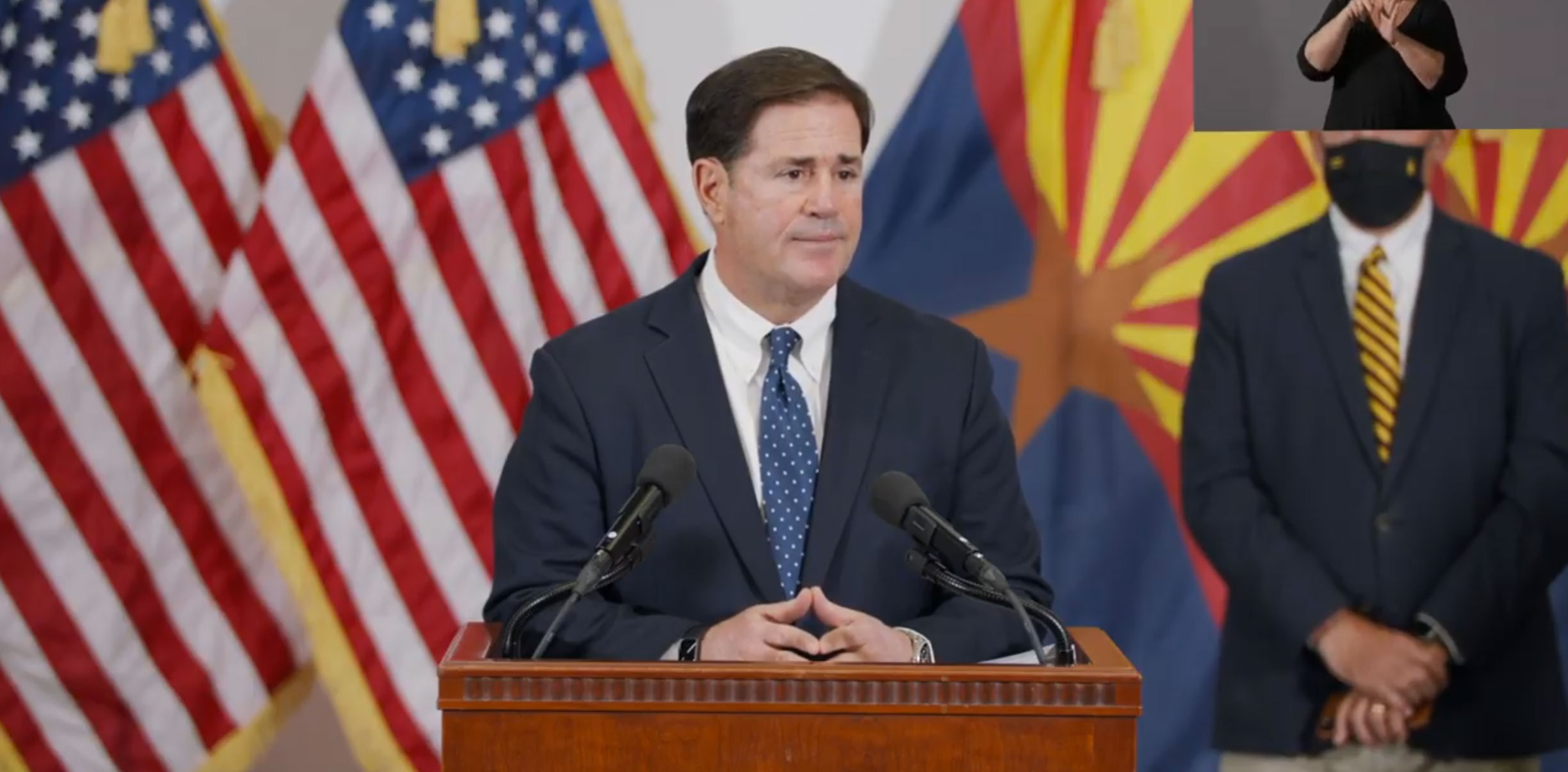 Gov. Doug Ducey speaking at a press conference on Thursday, Sept. 28, 2020.