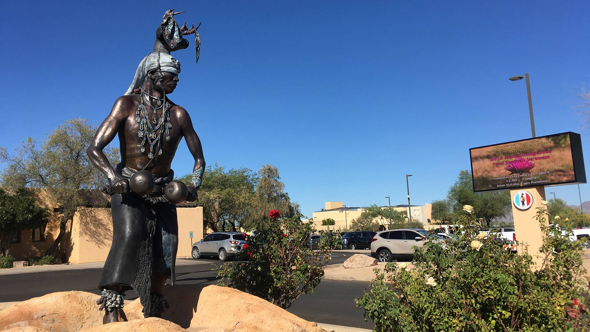 Deer dancer statue outside of the Pascua Yaqui Tribe's administration building.