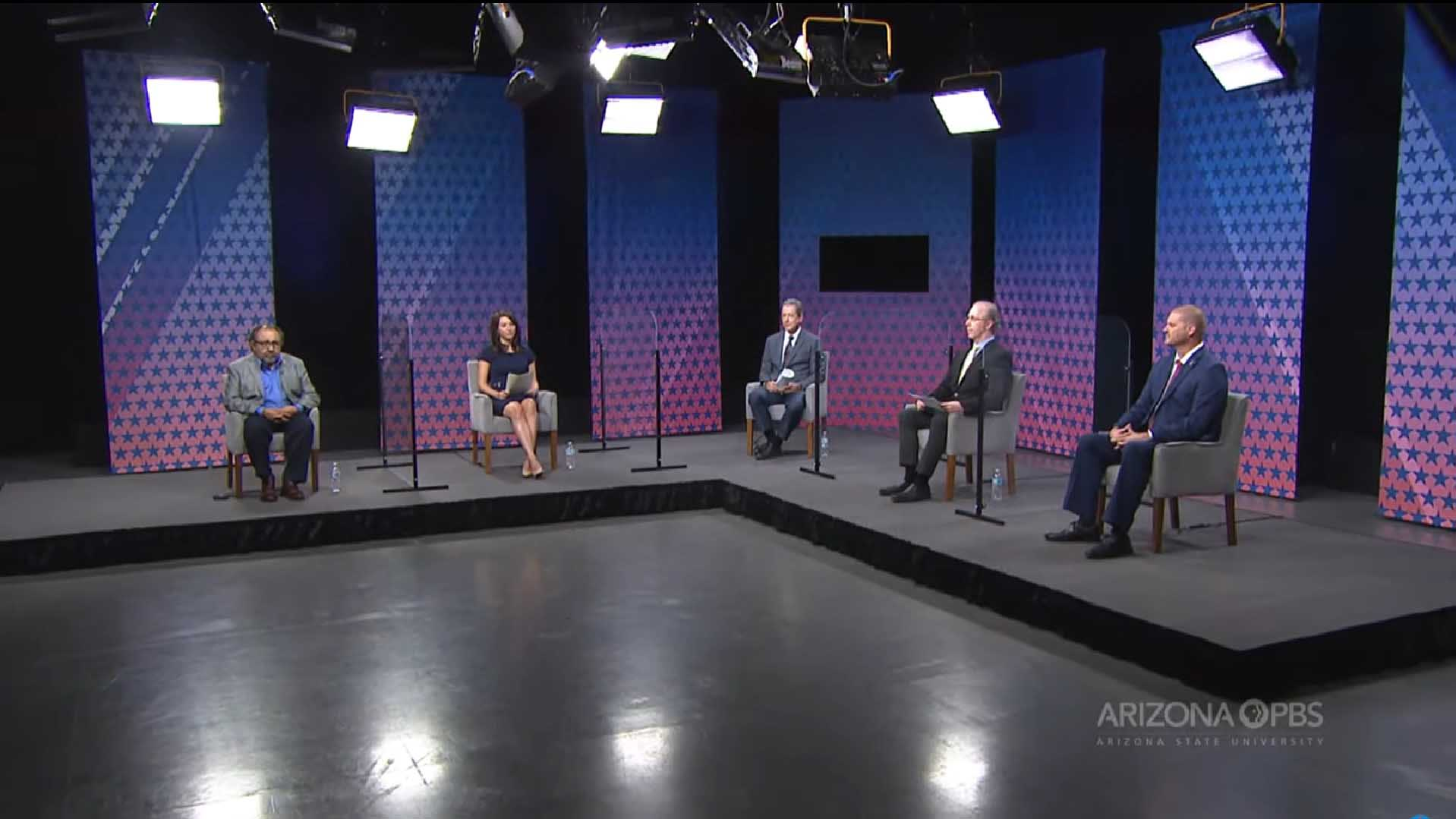 Raúl Grijalva (far left) and Daniel Wood (far right) debate in the Arizona PBS studio on September 28, 2020.