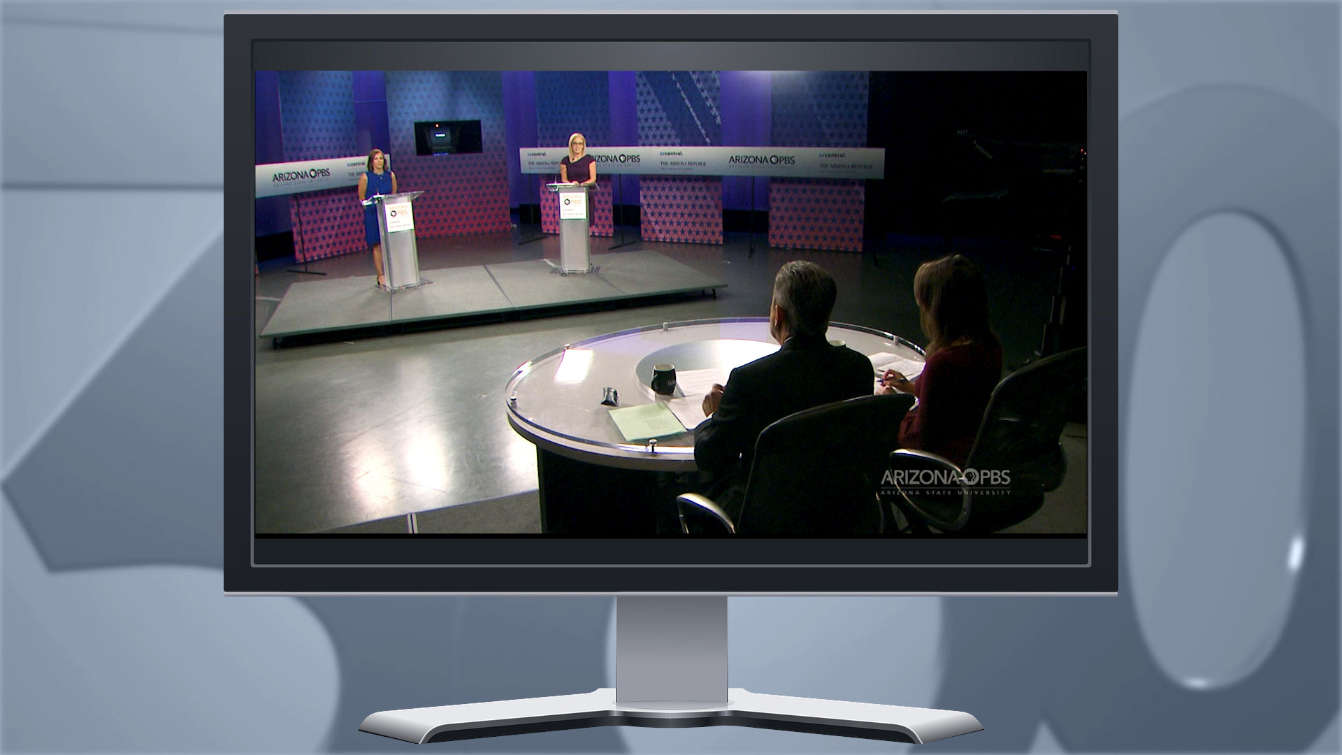 A photo illustration showing the U.S. Senate debate between candidates Martha McSally and Kyrsten Sinema at Arizona PBS in Phoenix. October 2018.