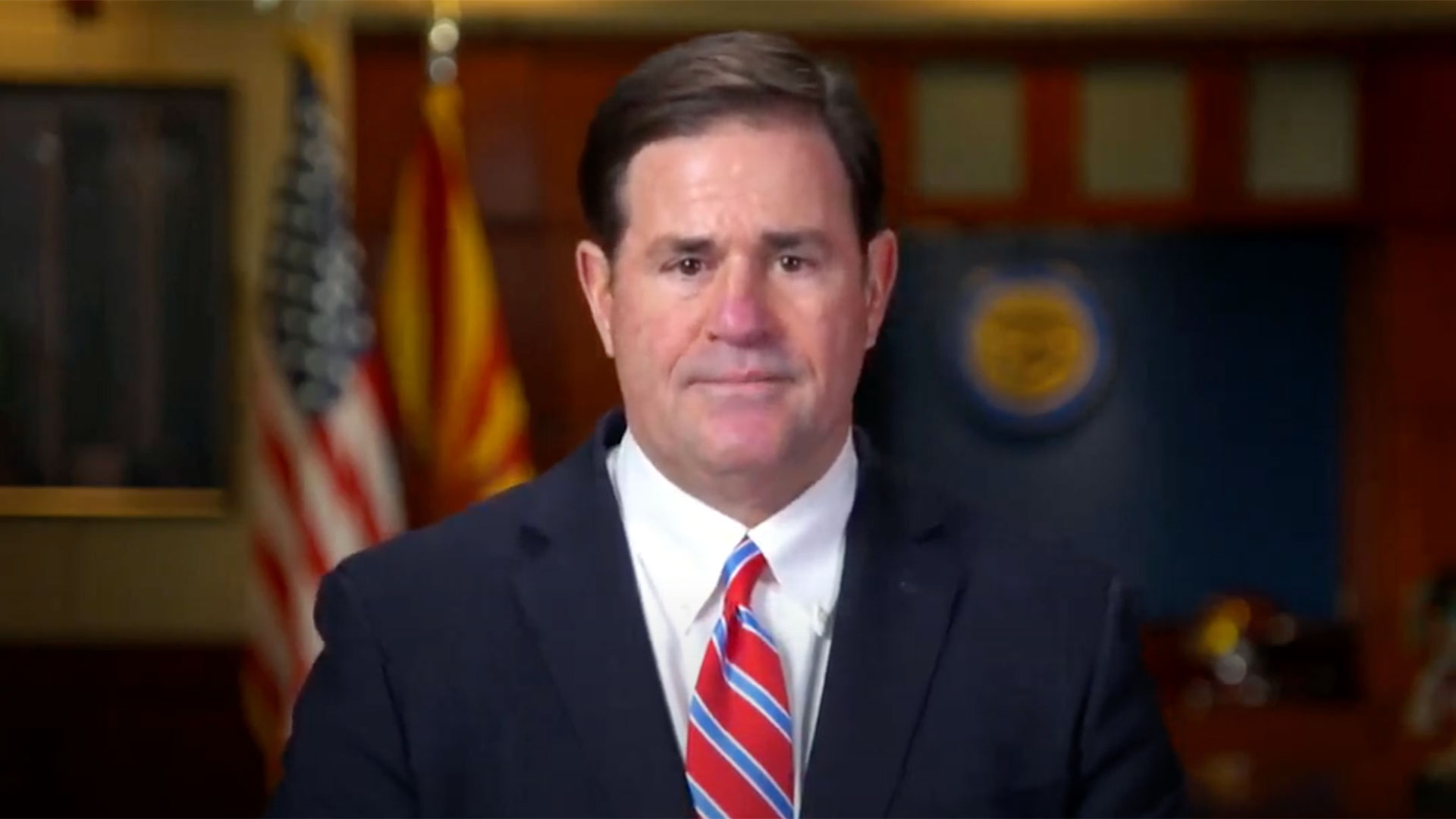 Gov. Doug Ducey delivers the annual State of the State address online due to COVID-19.  Jan. 11, 2021