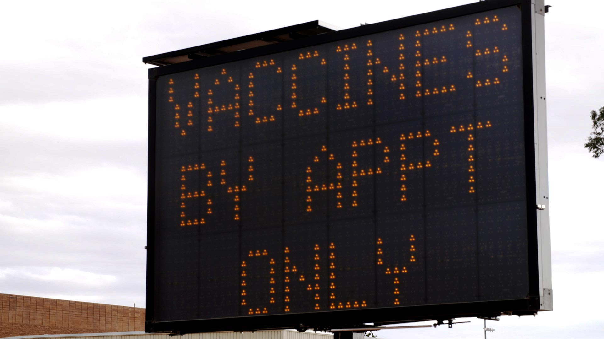 An electronic sign notifies the public that appointments are required to receive a COVID-19 vaccine at one of Pima County's vaccination sites. January 2021.