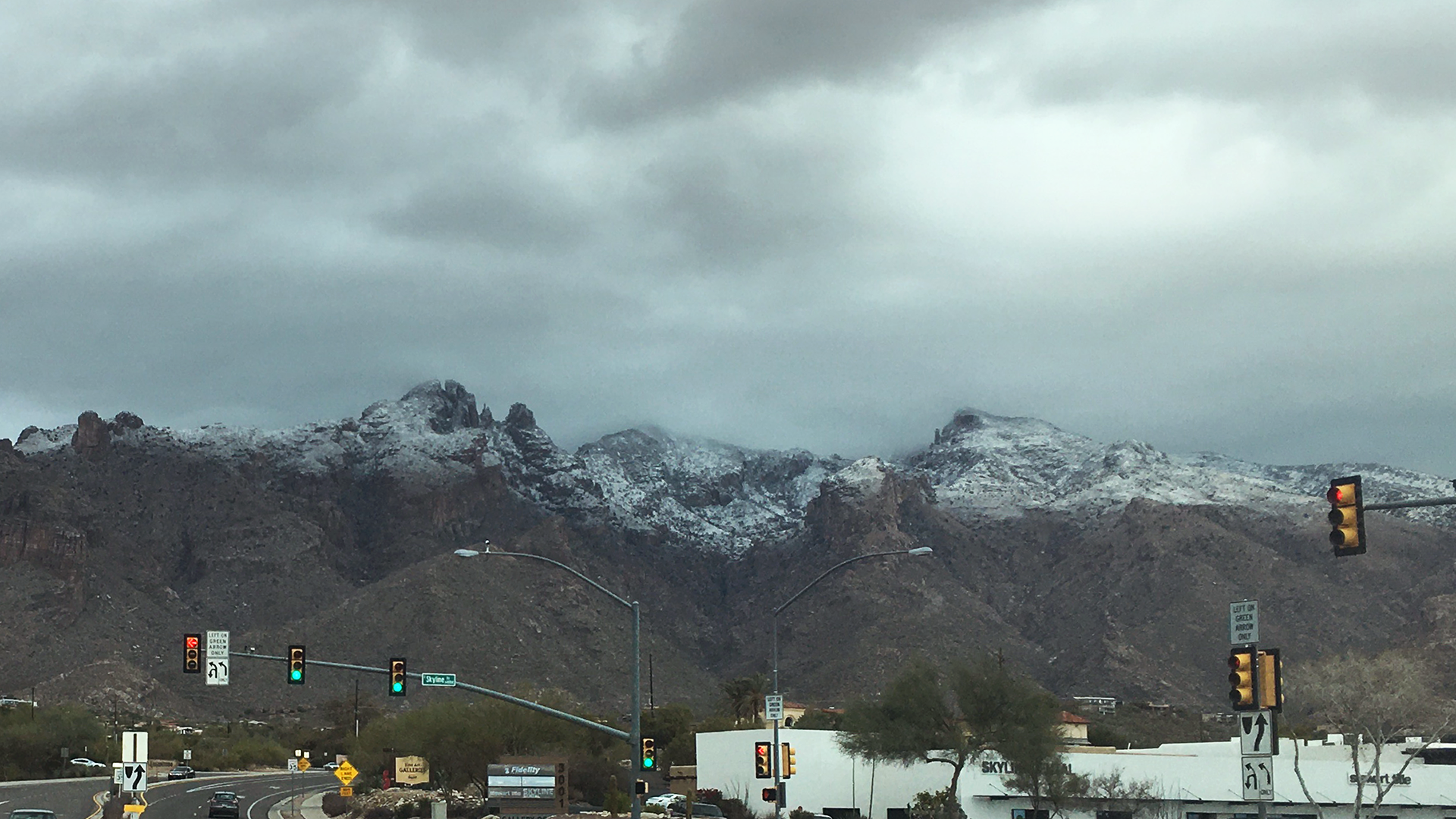 The view of the snowcapped Santa Catalina Mountains at Campbell Avenue and Skyline Drive in Tucson Jan. 25, 2020.