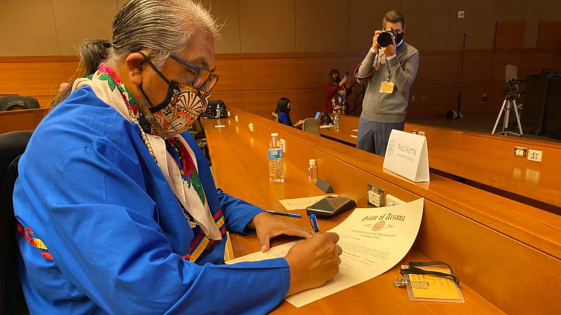 Tohono O'odham Chairman Ned Norris Jr. casts his electoral vote in Arizona for President-elect Joe Biden and Vice President-elect Kamala Harris December 14, 2020.