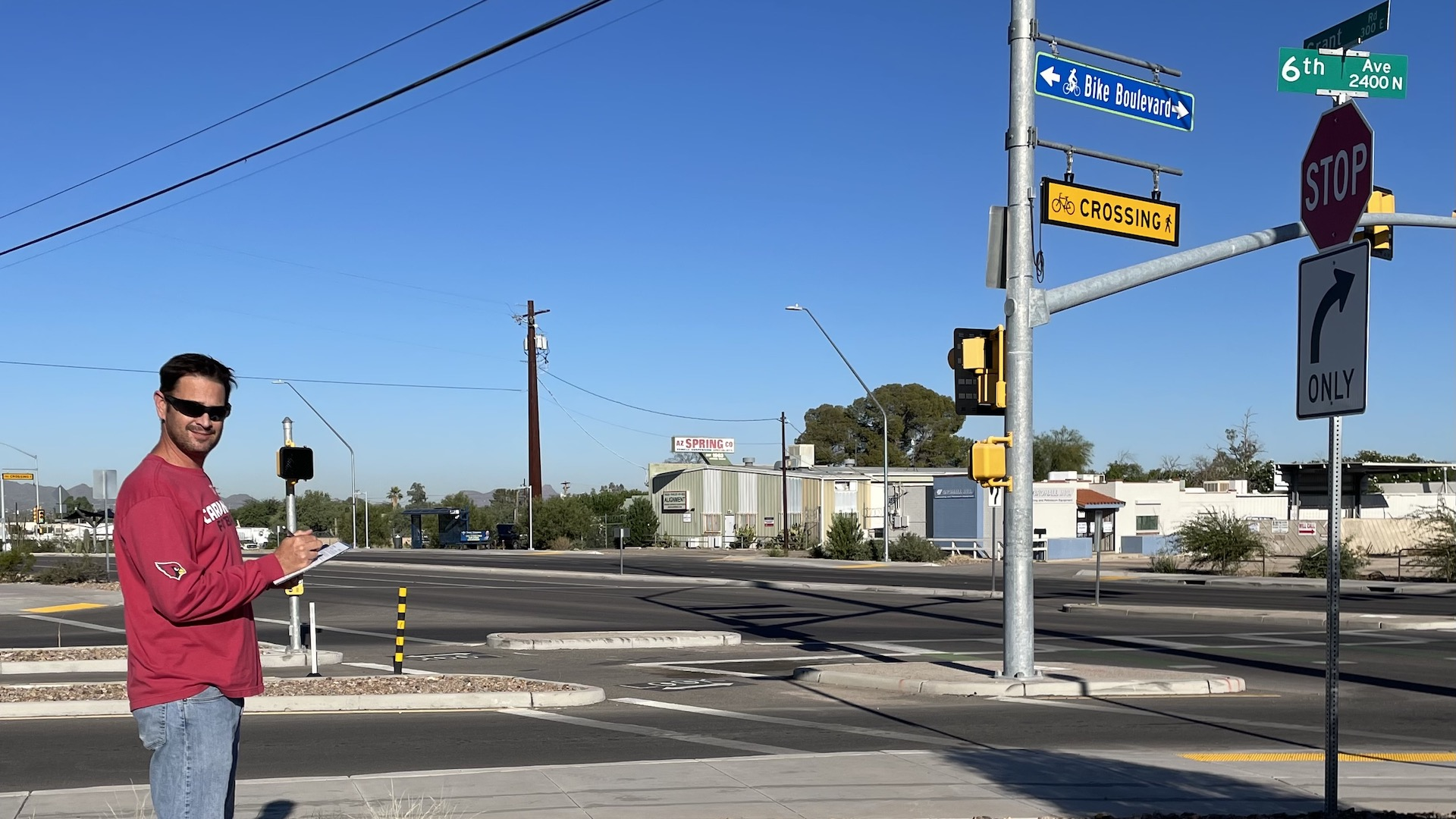 Pima Association of Governments Senior Transportation Planner David Mitchell counts pedestrians and bicycles at the corner of Grant Road and 6th Ave on Monday, October 11th, 2021, as part of an annual data collection effort.