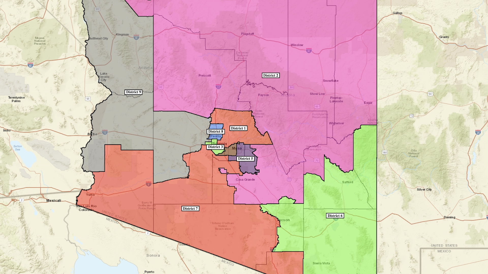A draft map of congressional districts from the Arizona Independent Redistricting Commission.