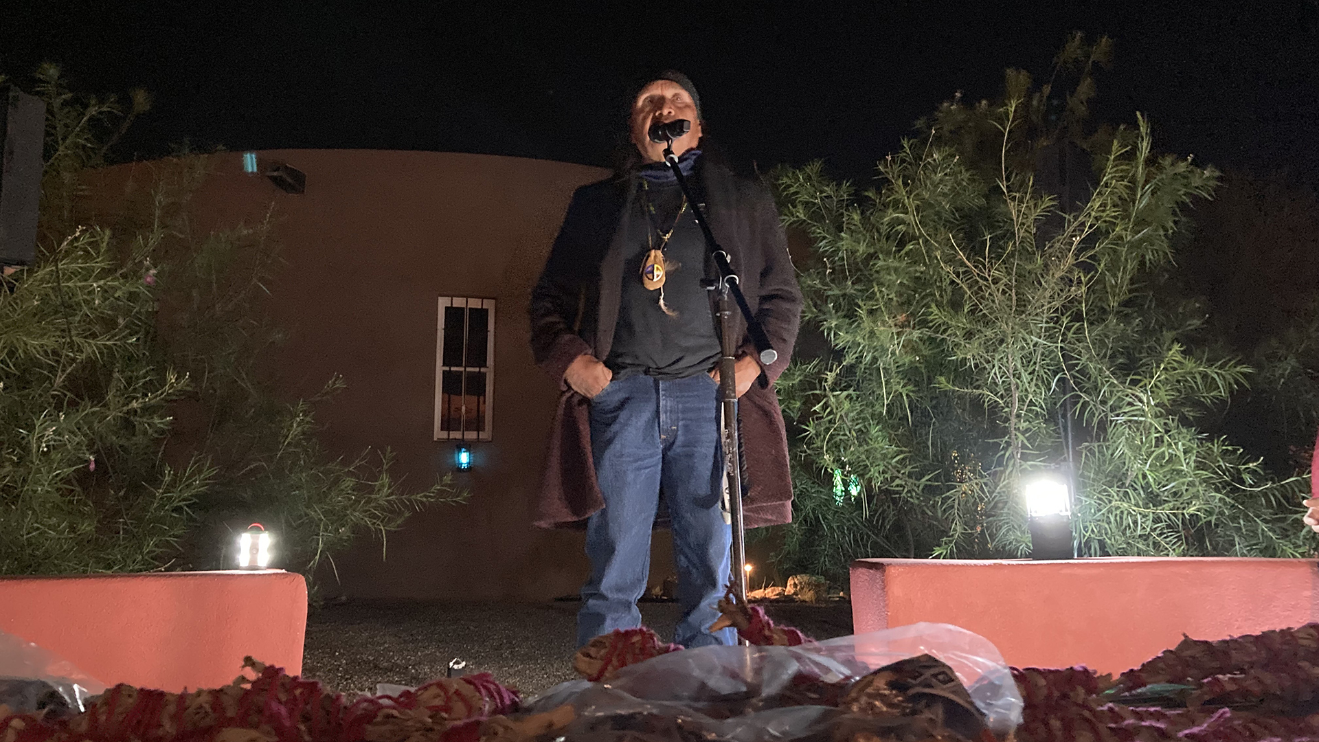 """Wendsler Nosie Sr. at Southside Presbyterian Church October 13, 2021, during Apache Stronghold's """"spiritual convoy"""" to the U.S. Court of Appeals for the Ninth Circuit concerning their motion for Temporary Restraining order and preliminary injunction at Oak Flat."""