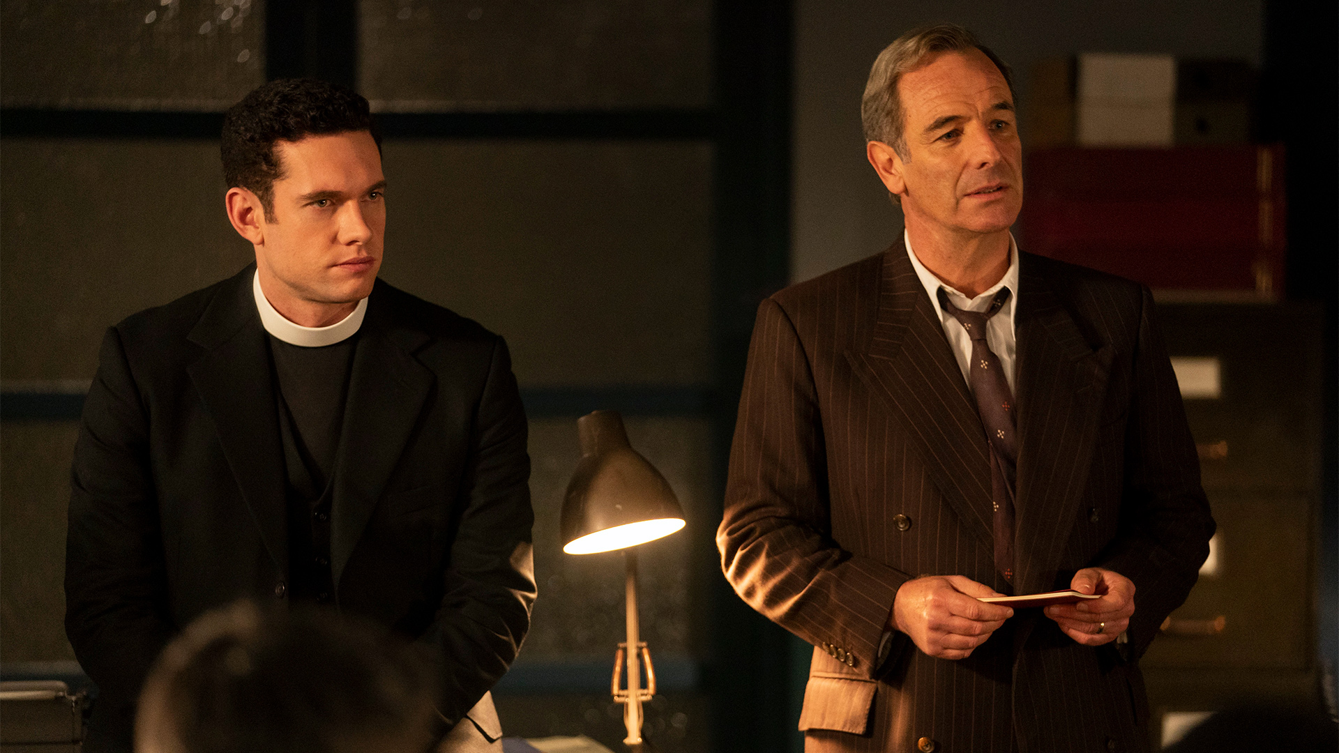 Tom Brittney as Rev. Will Davenport and Robson Green as DI Geordie Keating