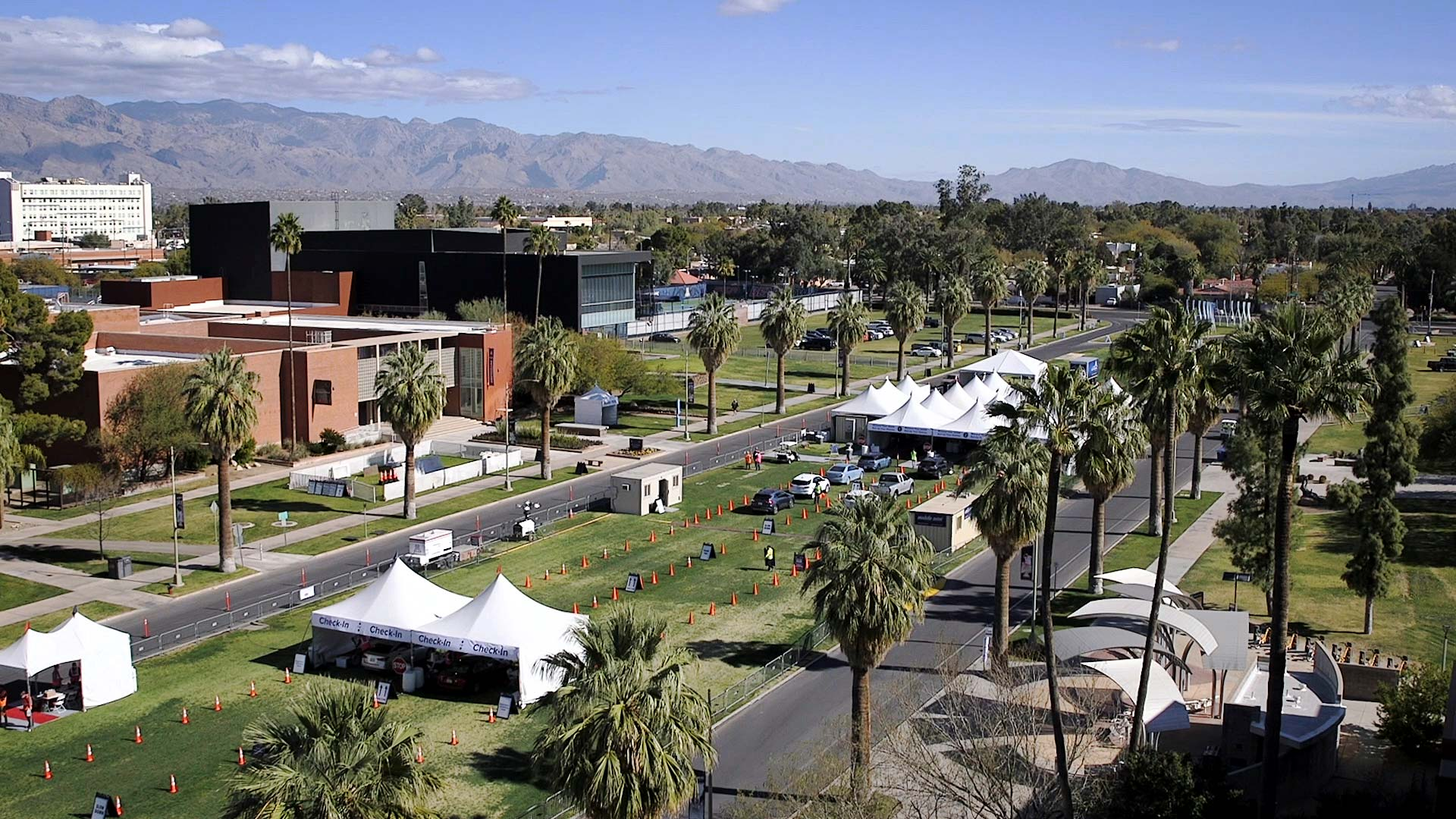 A COVID-19 vaccination site set up on the University of Arizona Mall. January 2021.