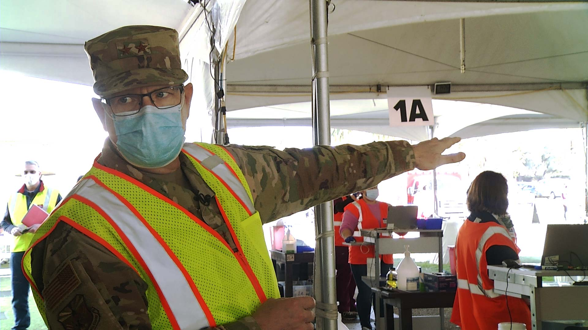 Maj. Gen. Michael McGuire, who oversees the Arizona National Guard, at the state-run COVID-19 vaccination site at the University of Arizona on Feb. 18, 2021.