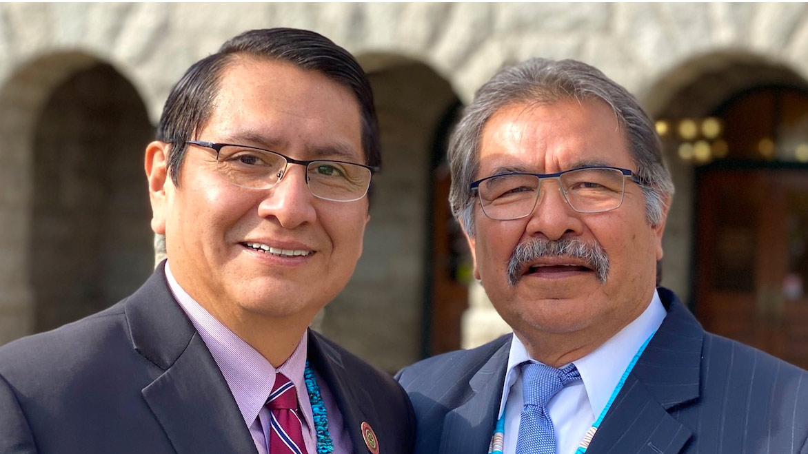 Navajo Nation President Jonathan Nez (left) and former Navajo Nation President Albert Hale (right) Jan. 15, 2020 at the Arizona State Capitol in Phoenix.