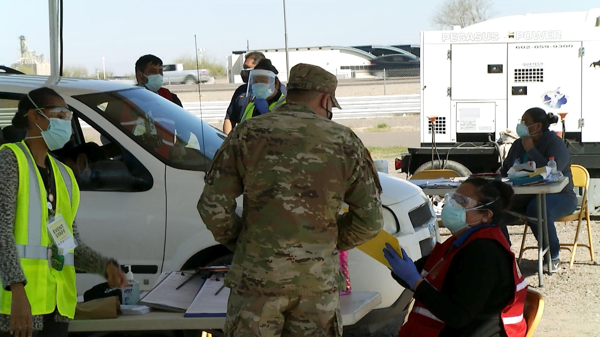 Arizona National Guard service members help vaccinate Gila River Indian Community tribal and community members against COVID-19 Feb. 20, 2021.
