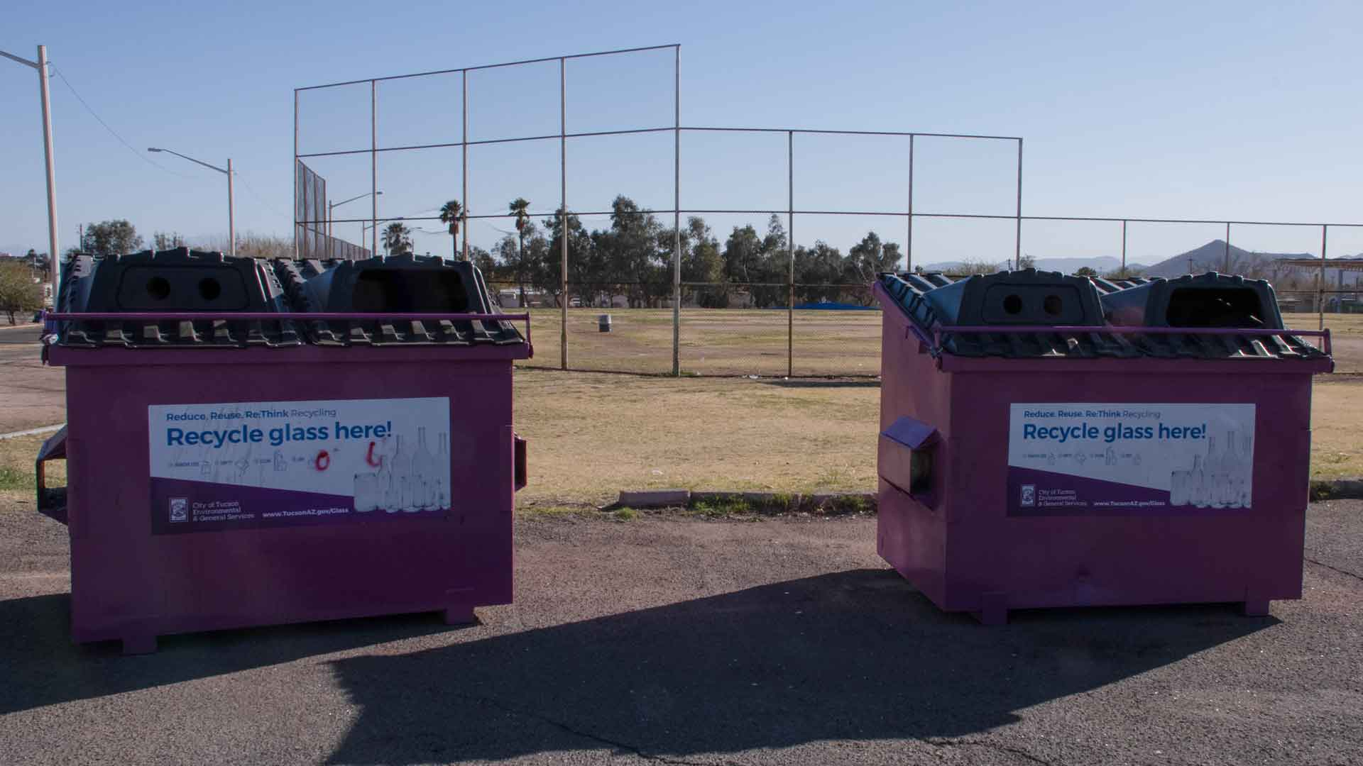 The City of Tucson now requires glass for recycling to be placed in bins, not curbside containers.