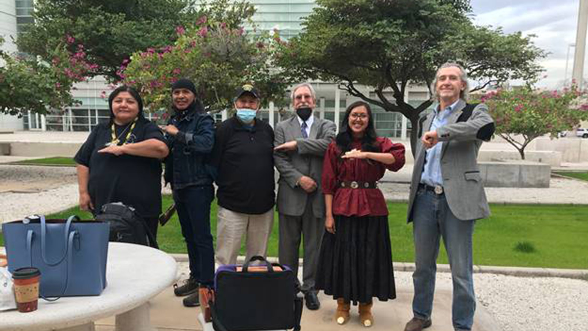 Members of Apache Stronghold, its legal team, and witness' in the case pose before the hearing for the preliminary injunction in Apache Stronghold v. United States of America Feb. 3, 2020.