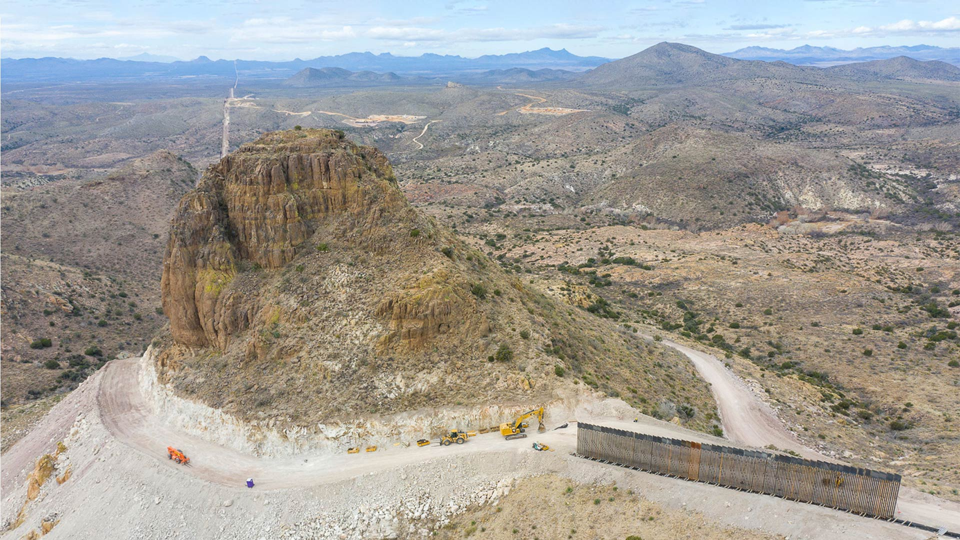 Border wall construction at Guadalupe Canyon in southeastern Arizona.