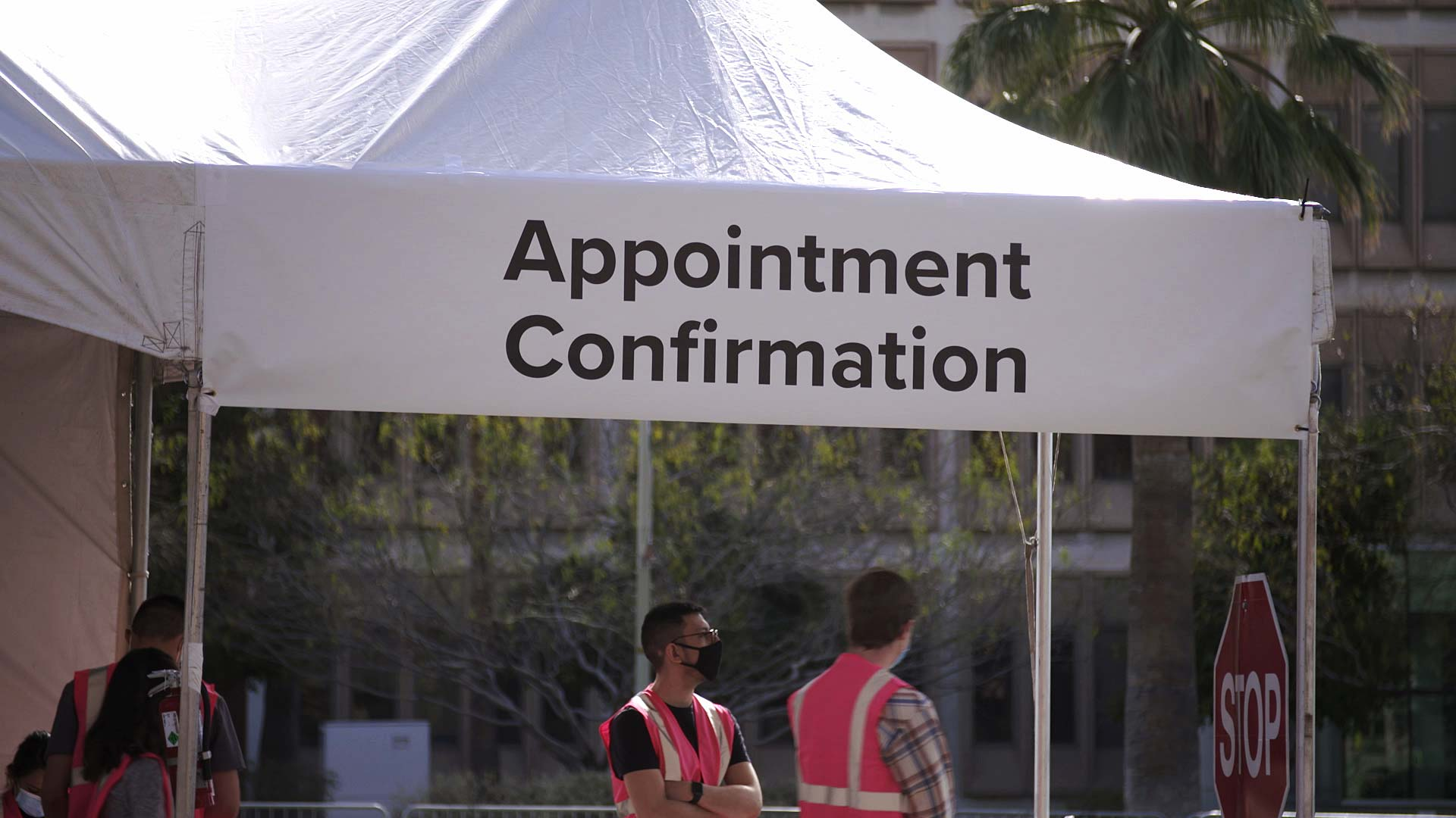 A tent at the University of Arizona where people can confirm their COVID-19 vaccine appointment. January 2021.