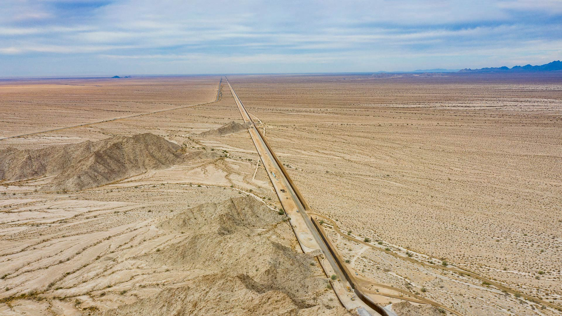 Aerial view of the border wall at the Tinajas Altas Mountains near Yuma, AZ.