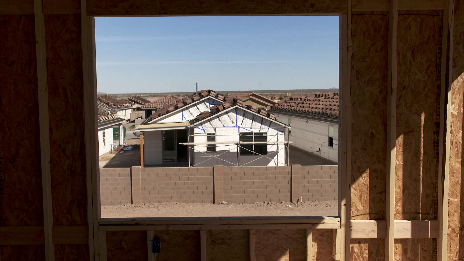 A view of home construction at a Meritage Homes site at Gladden Farms in Marana on March 17, 2021.