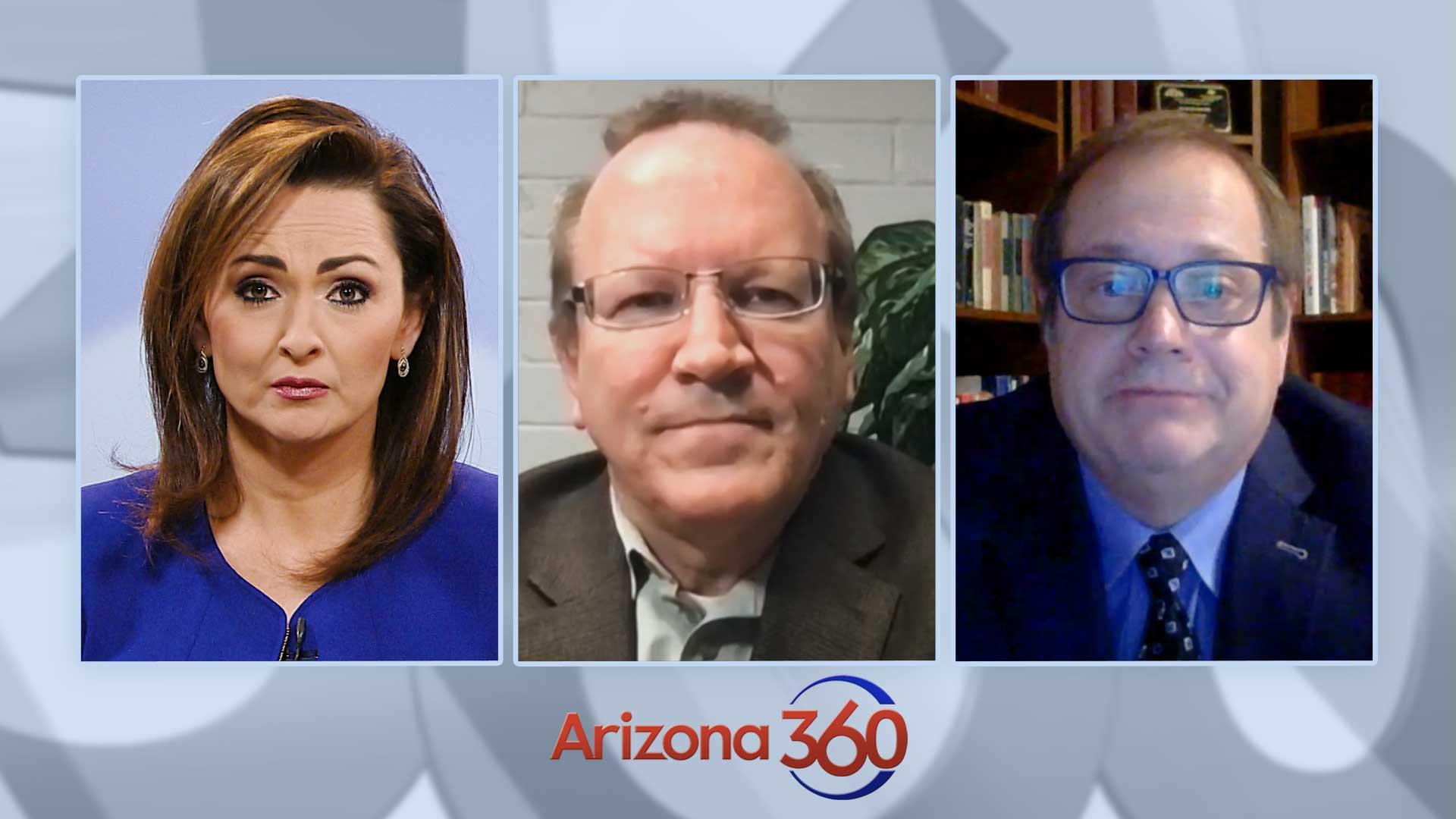 From left to right: Arizona 360 host Lorraine Rivera, Green Valley News/Sahuarita Sun editor Dan Shearer, Tucson Weekly/Tucson Local Media executive editor Jim Nintzel.