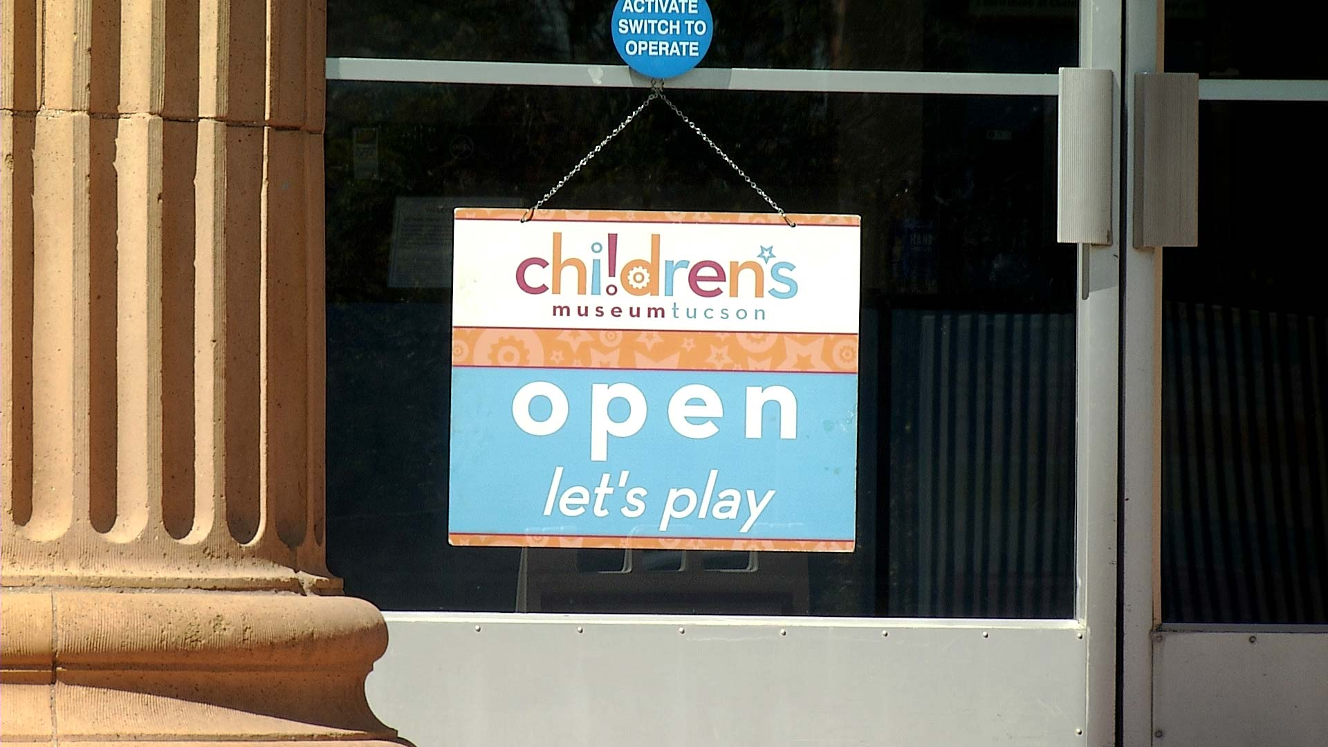 A sign welcomes back visitors to the Children's Museum Tucson on March 26, 2021.