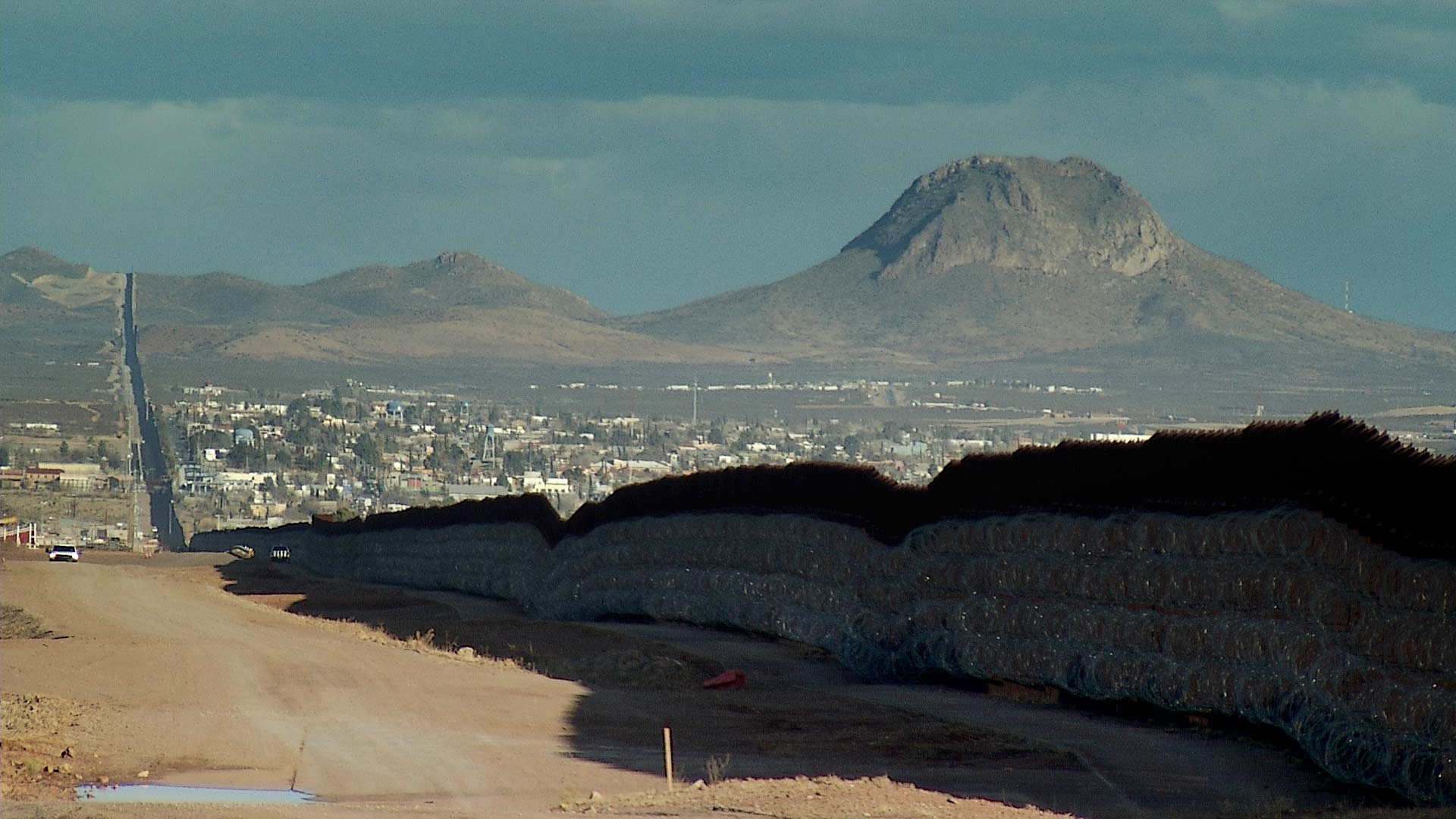 A view of a mountain range east of Douglas near the border.