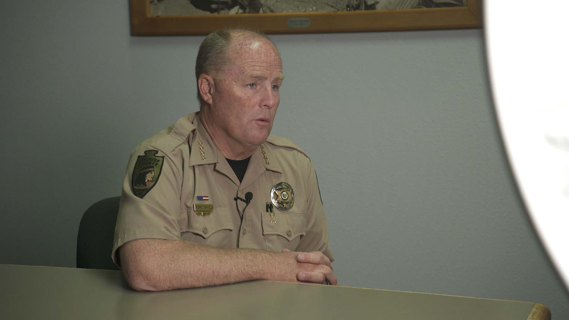 Cochise County Sheriff Mark Dannels sits for an interview at his office in Bisbee on April 20, 2021.