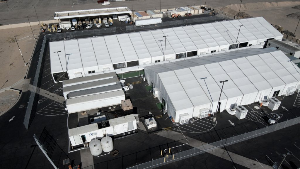 An aerial view of a U.S. Customs and Border Protection tent facility in Yuma, Ariz.