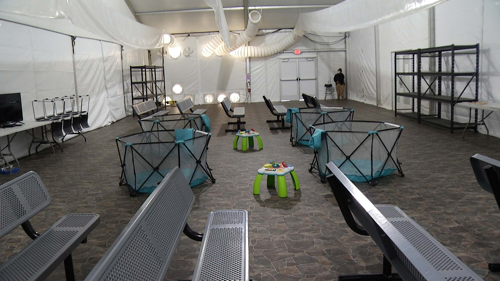 Inside a temporary, tent facility for unaccompanied minors in Customs and Border Patrol's custody in unincorporated Pima Country. April 2021.