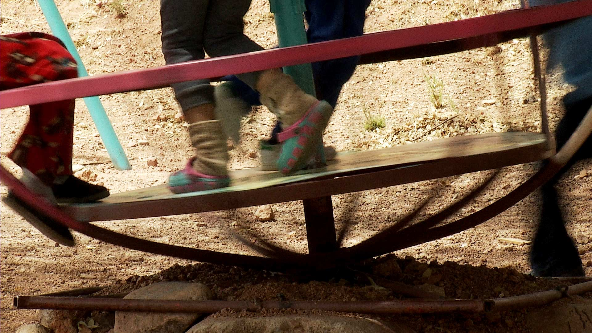 Children play at a shelter for migrant families and women in Nogales, Sonora. April 2021.