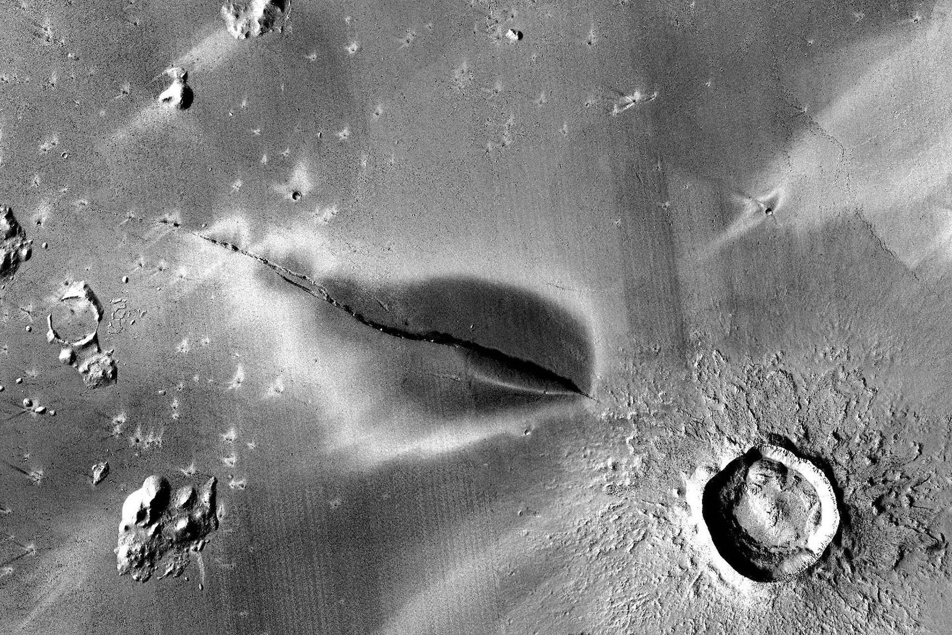 Ancient volcanic deposit on Mars.