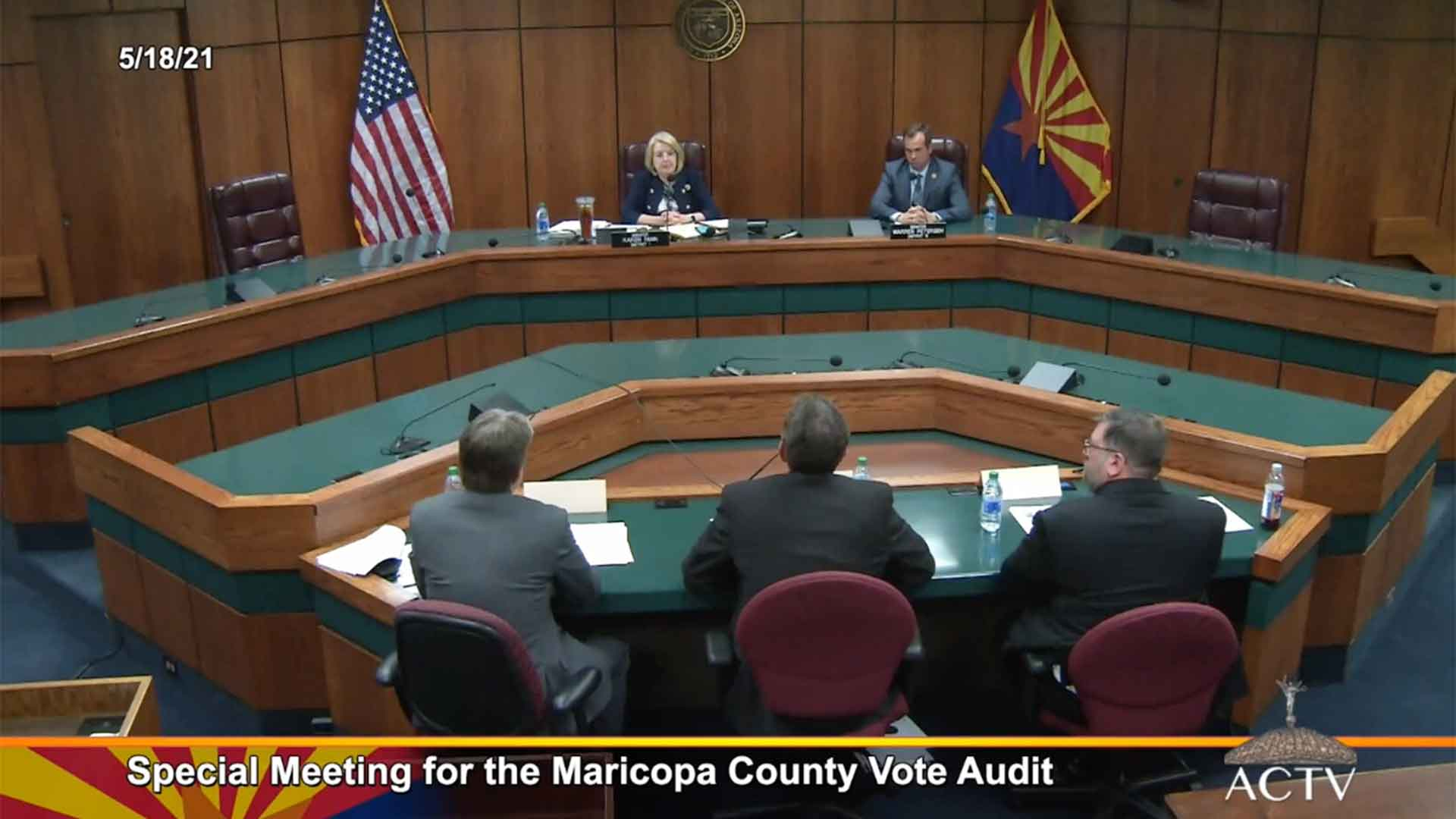Sen. President Karen Fann and Sen. Warren Petersen, the chair of the Senate Judiciary Committee, meet with members of the team auditing the results of the Presidential election in Maricopa County. May 18, 2021