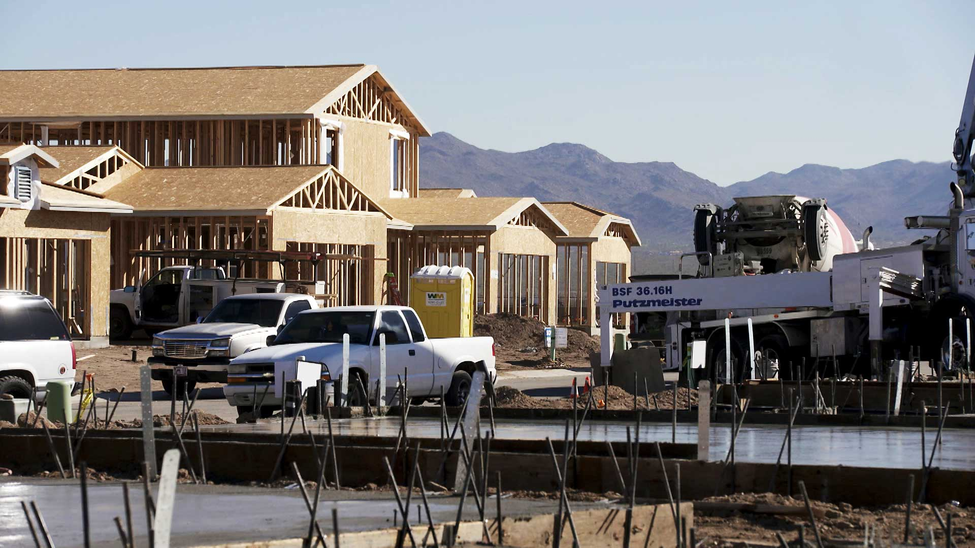 A home under construction in Marana in a development owned by Meritage Homes. March 2021.