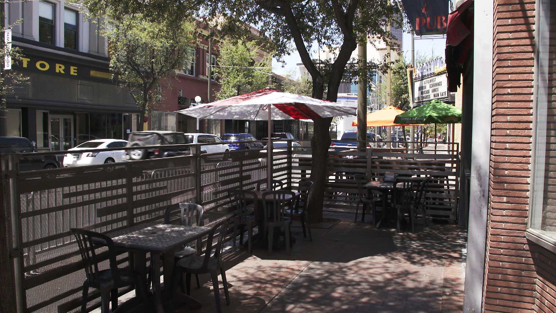 A patio outside Elliott's on Congress in downtown Tucson that was recently constructed to offer patrons outdoor dining options amid concerns about the spread of COVID-19. June 2021.