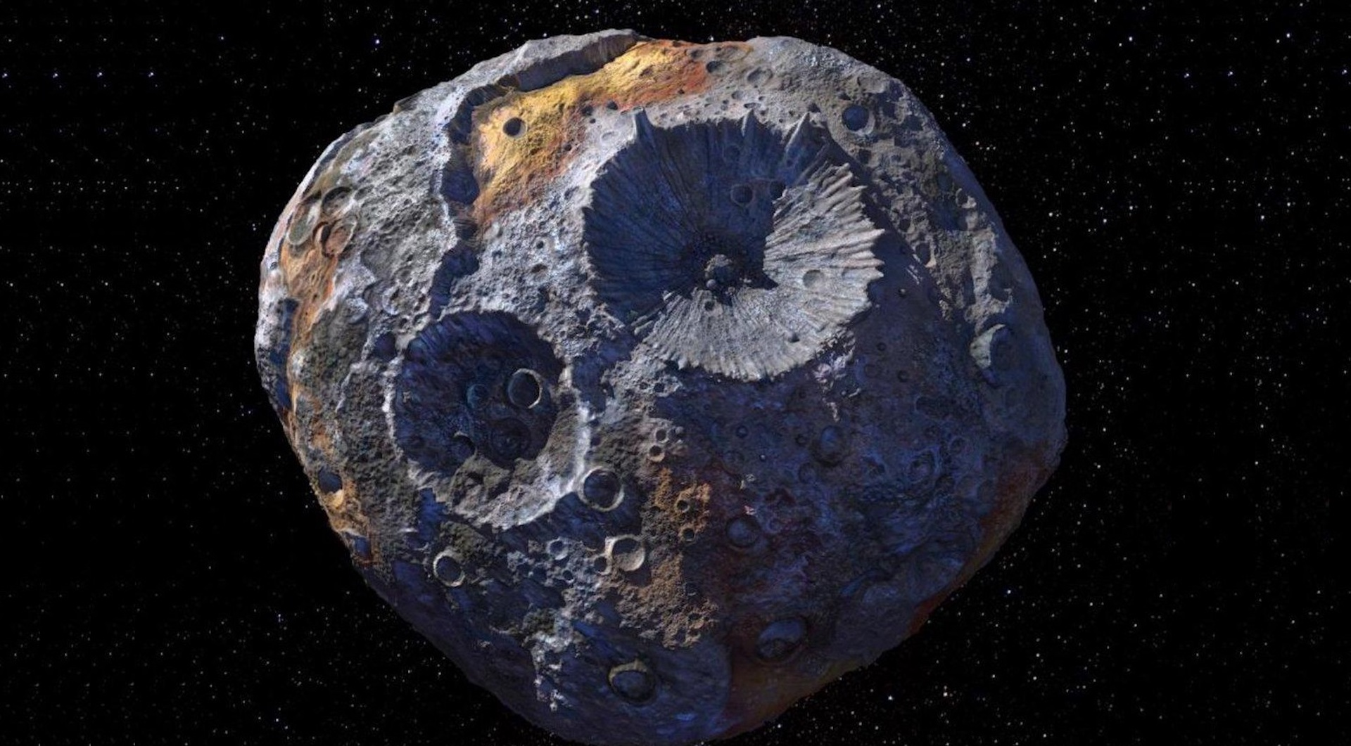 Illustration of asteroid 16 Psyche.