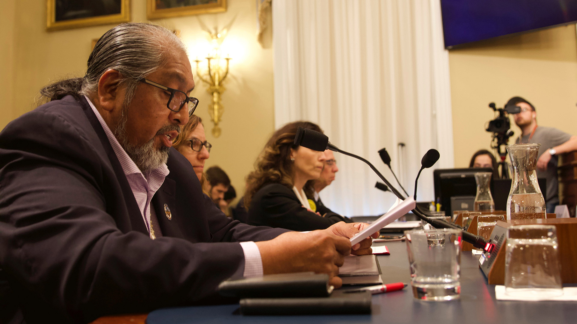 Tohono O'odham Chairman Ned Norris Jr. during congressional testimony in February 2020.